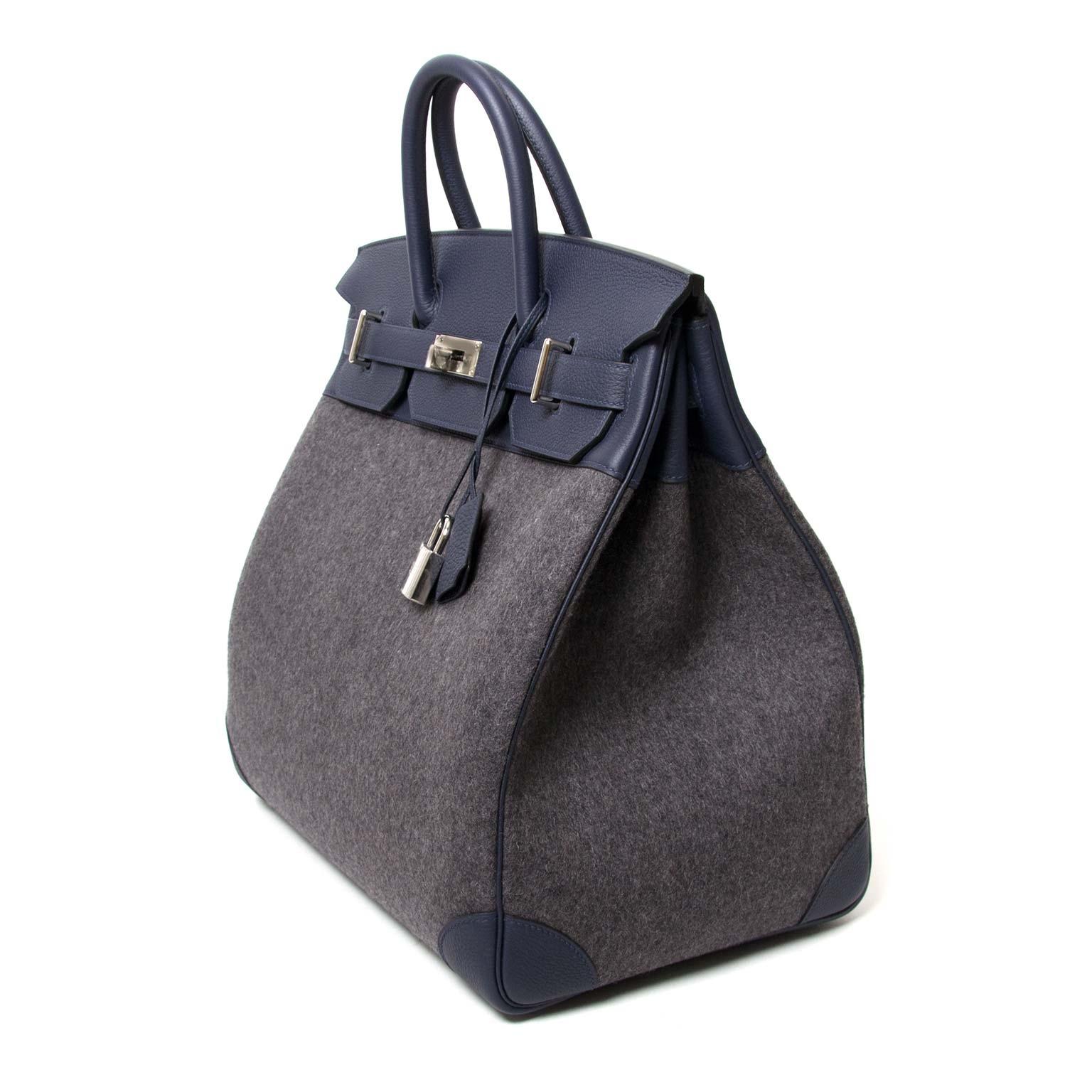 Hermes Birkin 40 Hac Gris Moyen Grey Todoo Feutre Blue Nuit Togo  nu te koop bij labellov.com