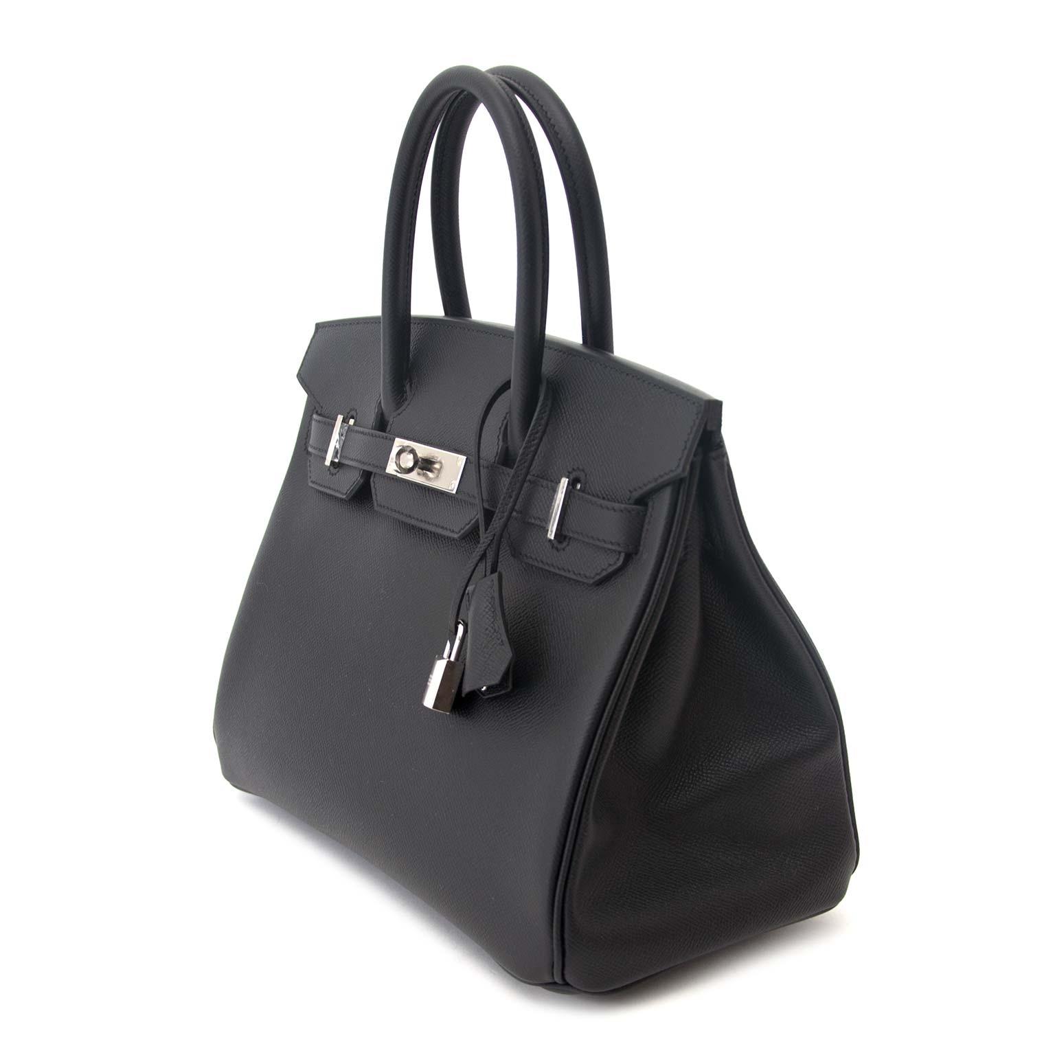Never Used Hermes Birkin 30 Black Epsom PHW veilig online tweedehands