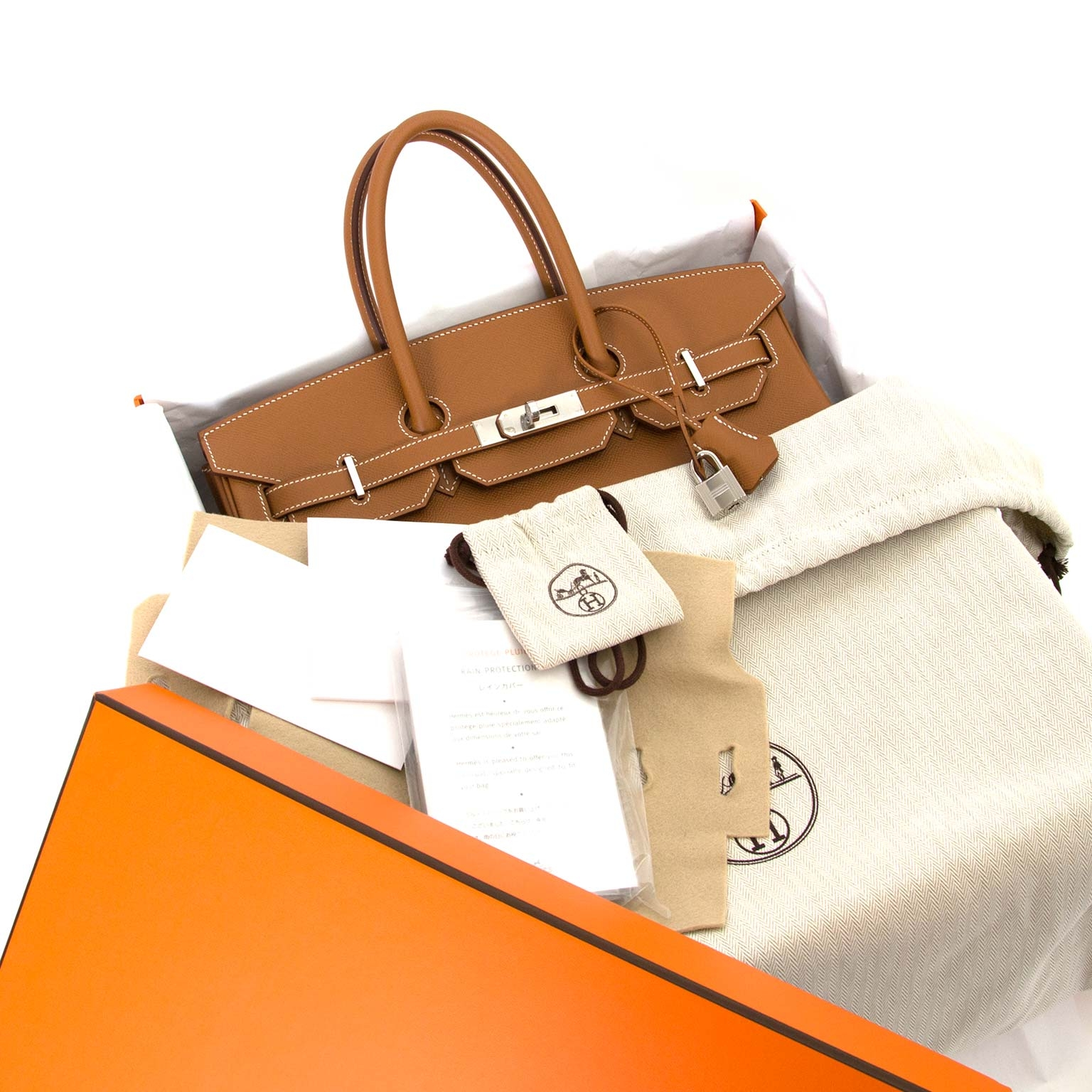 Hermès Birkin 35 Epsom Gold PHW  full set brand new best prie 2019