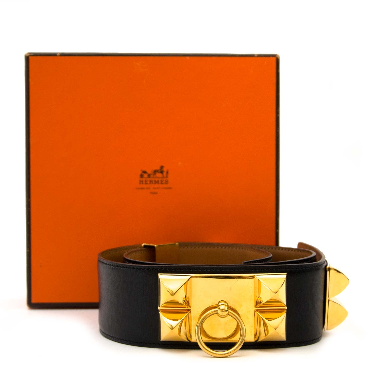 buy Hermès Black Boxcalf Leather Collier De Chien at labellov and pay save online