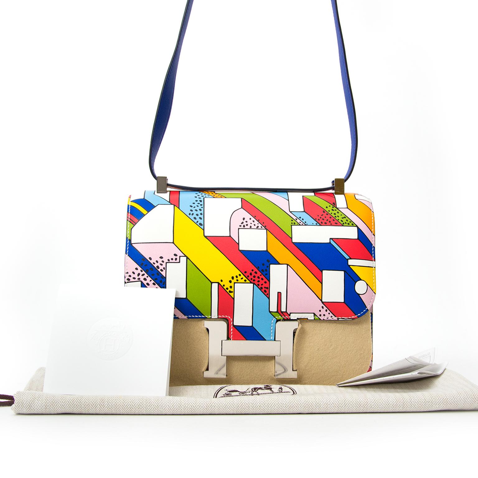 koop online aan de beste prijs acheter en lligne pour le meilleur prix Hermès Constance 24 Swift On A Summer Day Blanc/Multicolore