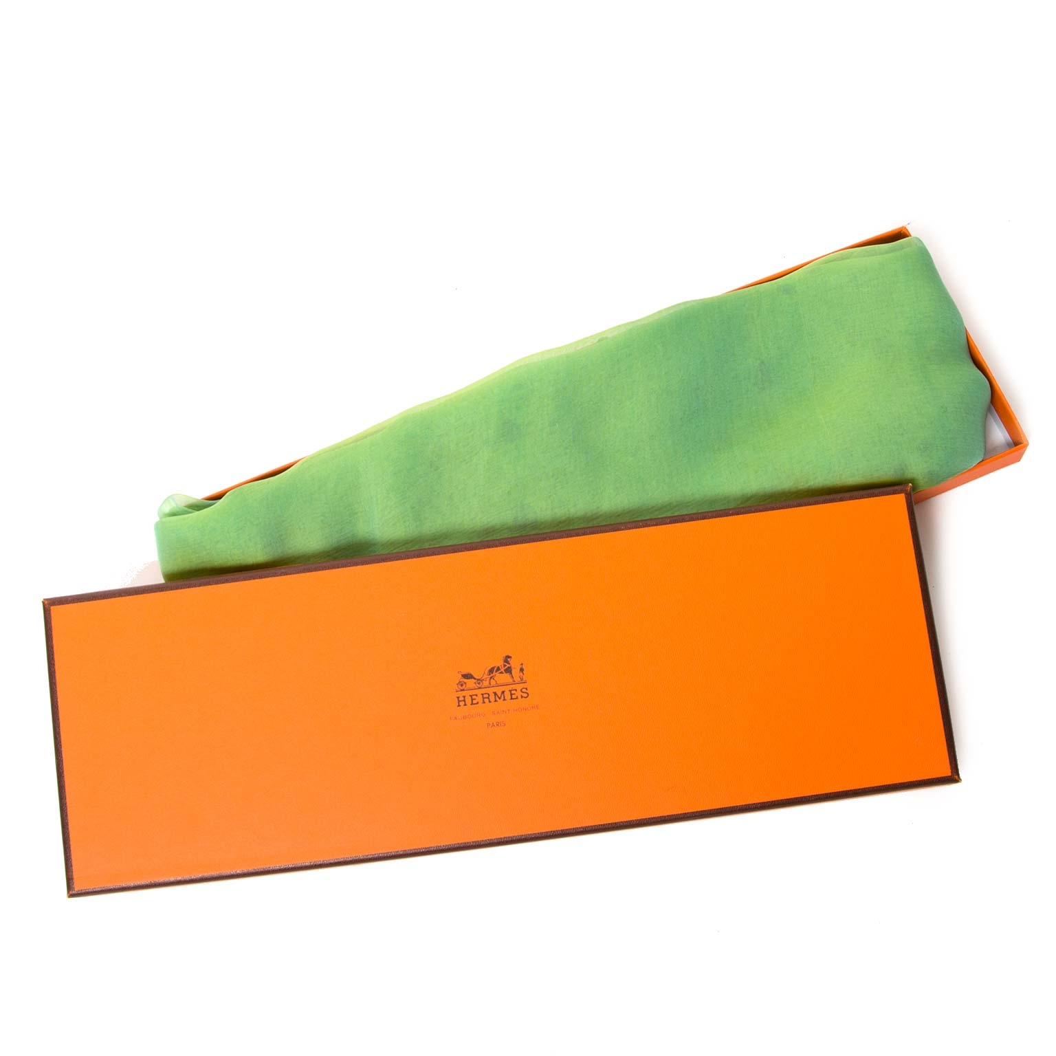 acheter en ligne seconde main Hermes Green Mouseline Scarf