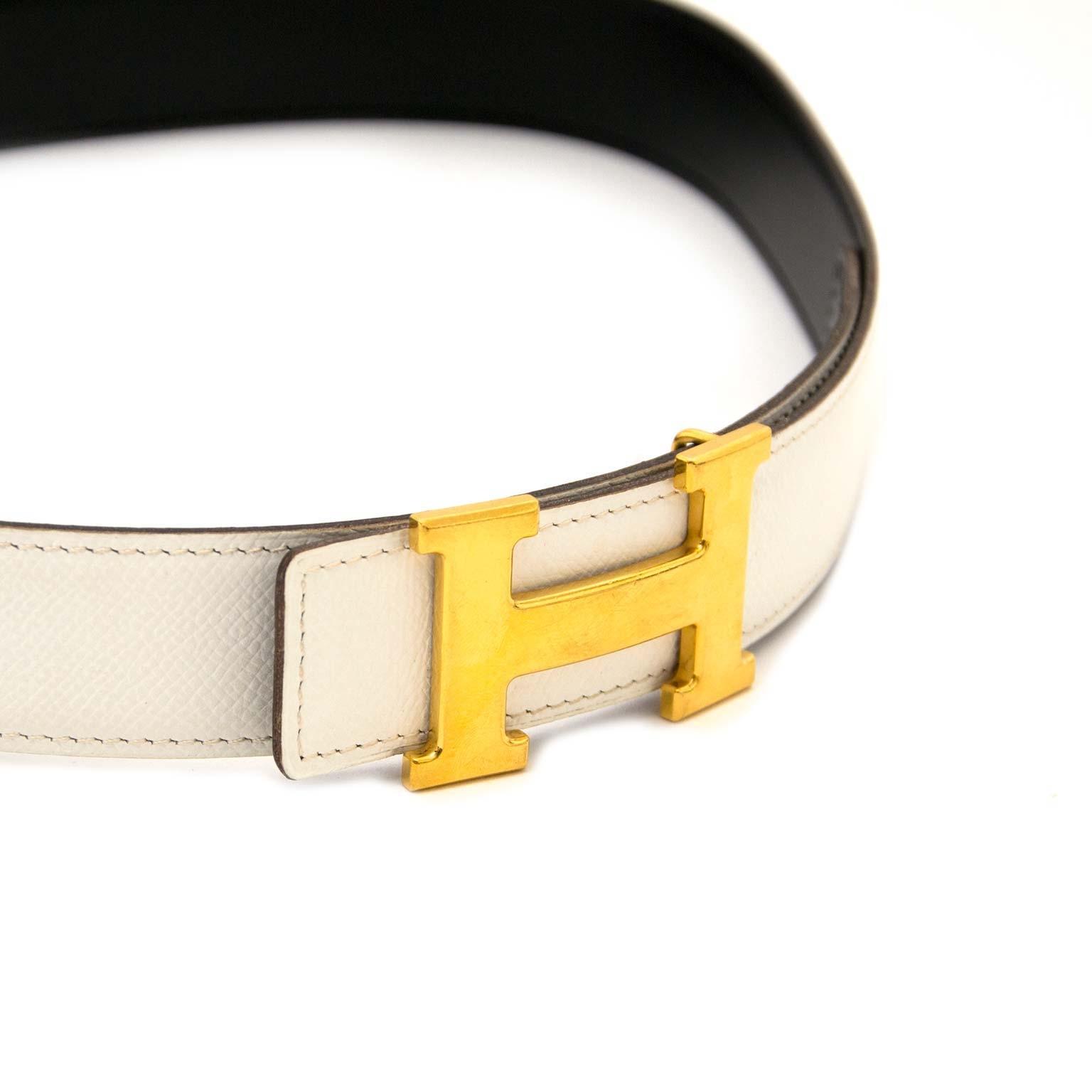 Hermès Reversible White/Black Constance H Belt