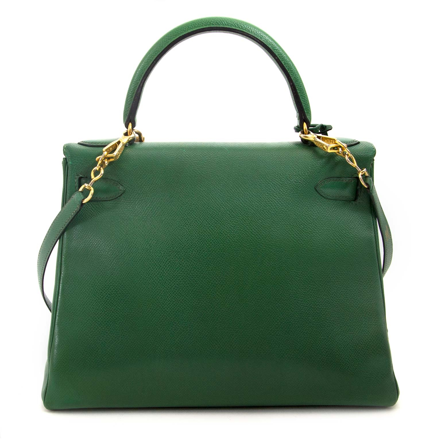 It-bag of 2018 now available immediately at Labellov: Hermès Kelly 28 Vert Bengal Courchevel GHW for sale