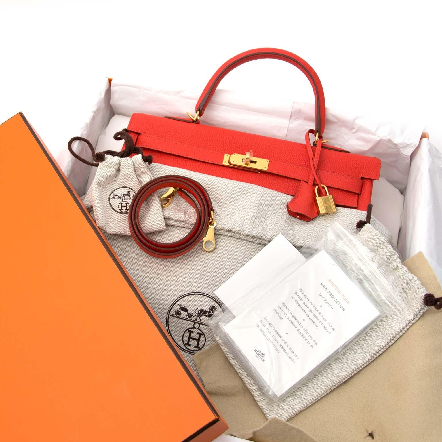 acheter en ligne chez labellov.com Hermès Kelly 35 Togo Capucine GHW 100% authentique