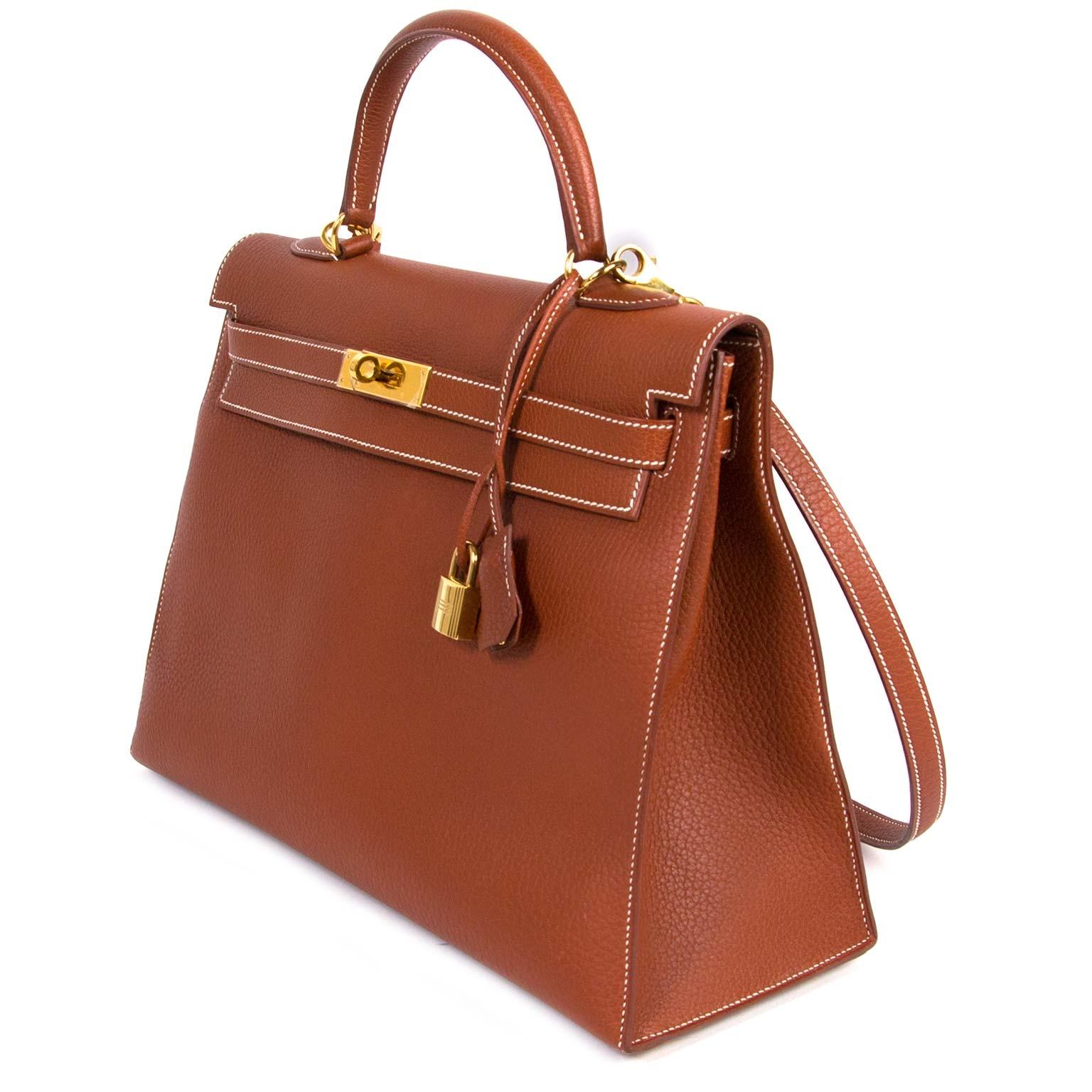 shop safe and secure online at labellov.com Hermès Kelly 35 Etrusque Veau Fjord GHW