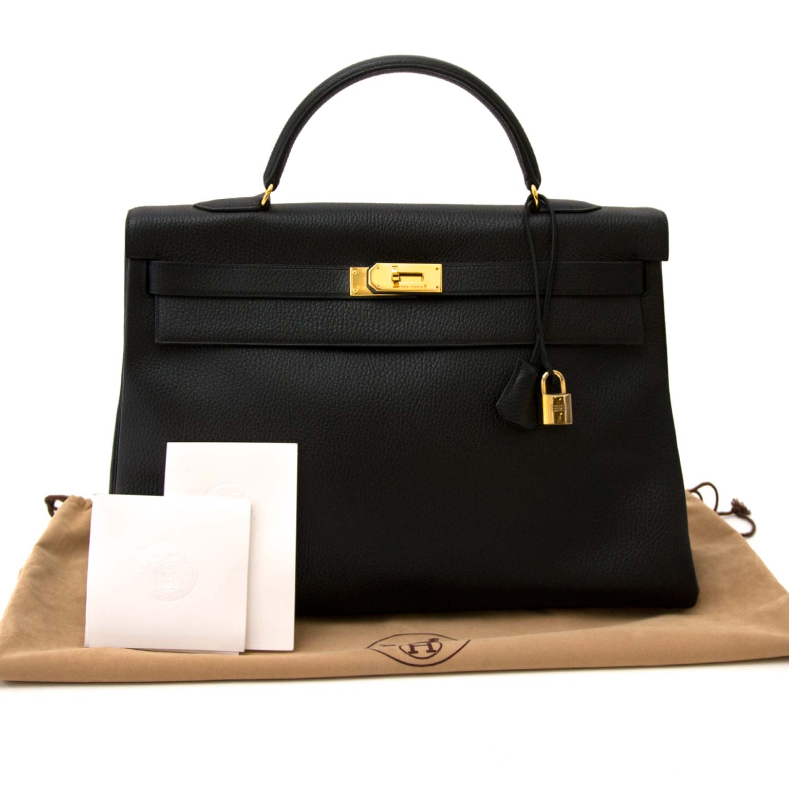 Hermès Kelly 40cm Black Veau Grainee Ardennes GHW for the best price at Labellov