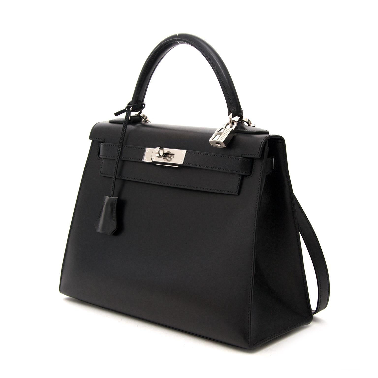 ... tweedehands designer Hermes Buy safe online secondhand designer vintage hermes  kelly 28cm black boxcalf leather in 0665e4660ef0d