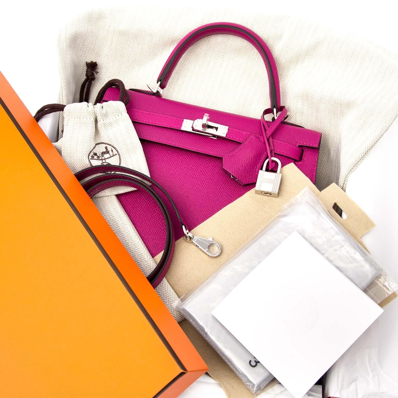 shop safe and secure online at labellov.com Hermès Kelly 25 Epsom Rose Pourpre PHW