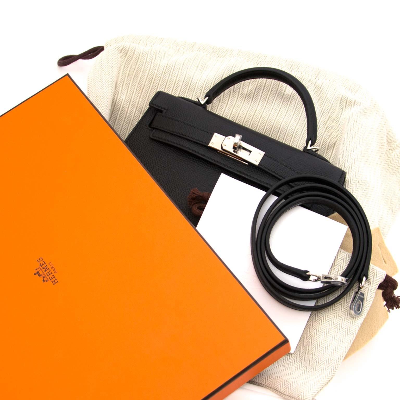 shop safe online Hermès Kelly II Mini Veau Epsom Black PHW for the best price worldwide shipping