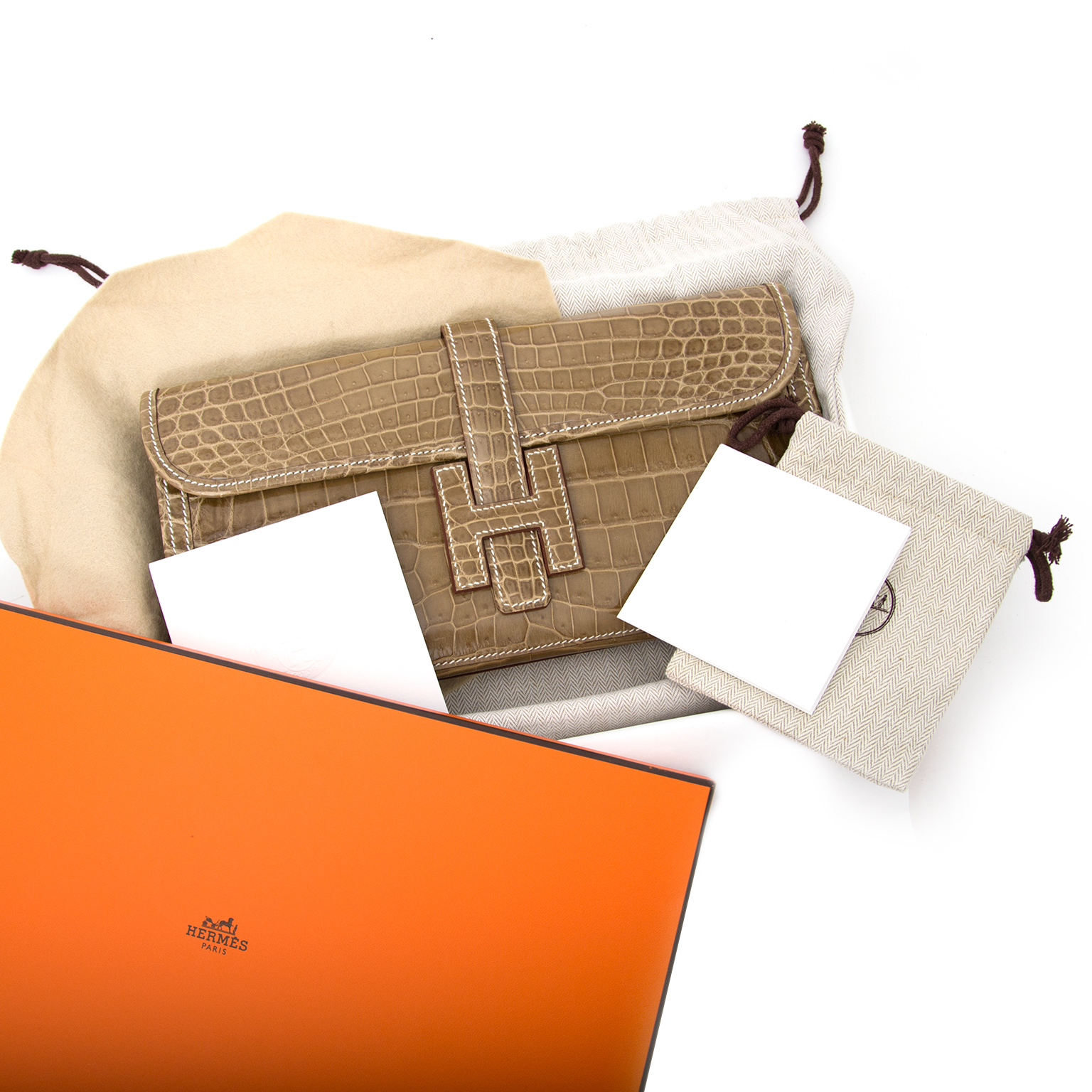 worldwide shipping brand new Hermès Pochette Jige Elan 29 Crocodile Niloticus Lisse Ficelle
