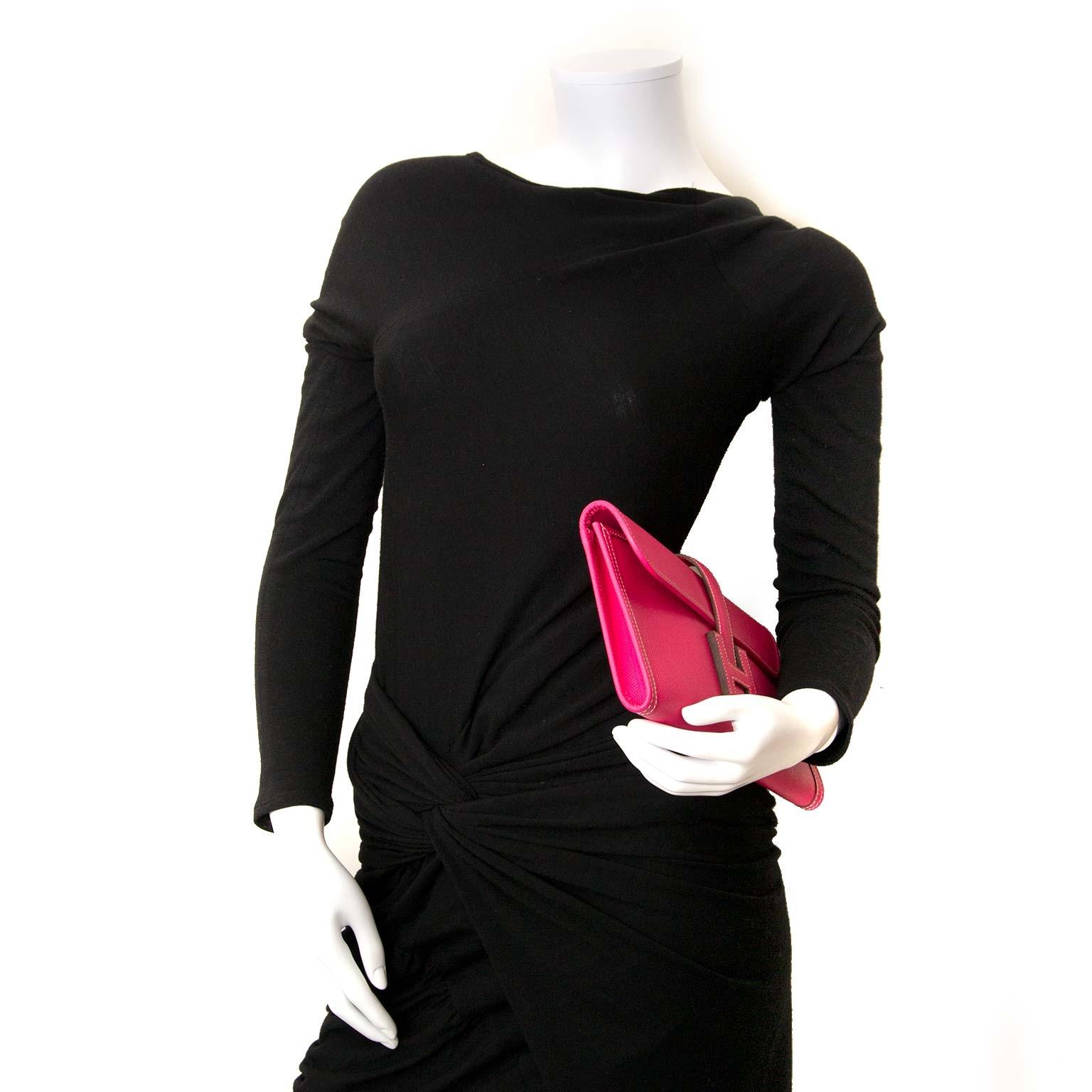 hermes jige elan 29 veau epsom rose tyrien clutch now for sale at labellov vintage fashion webshop belgium