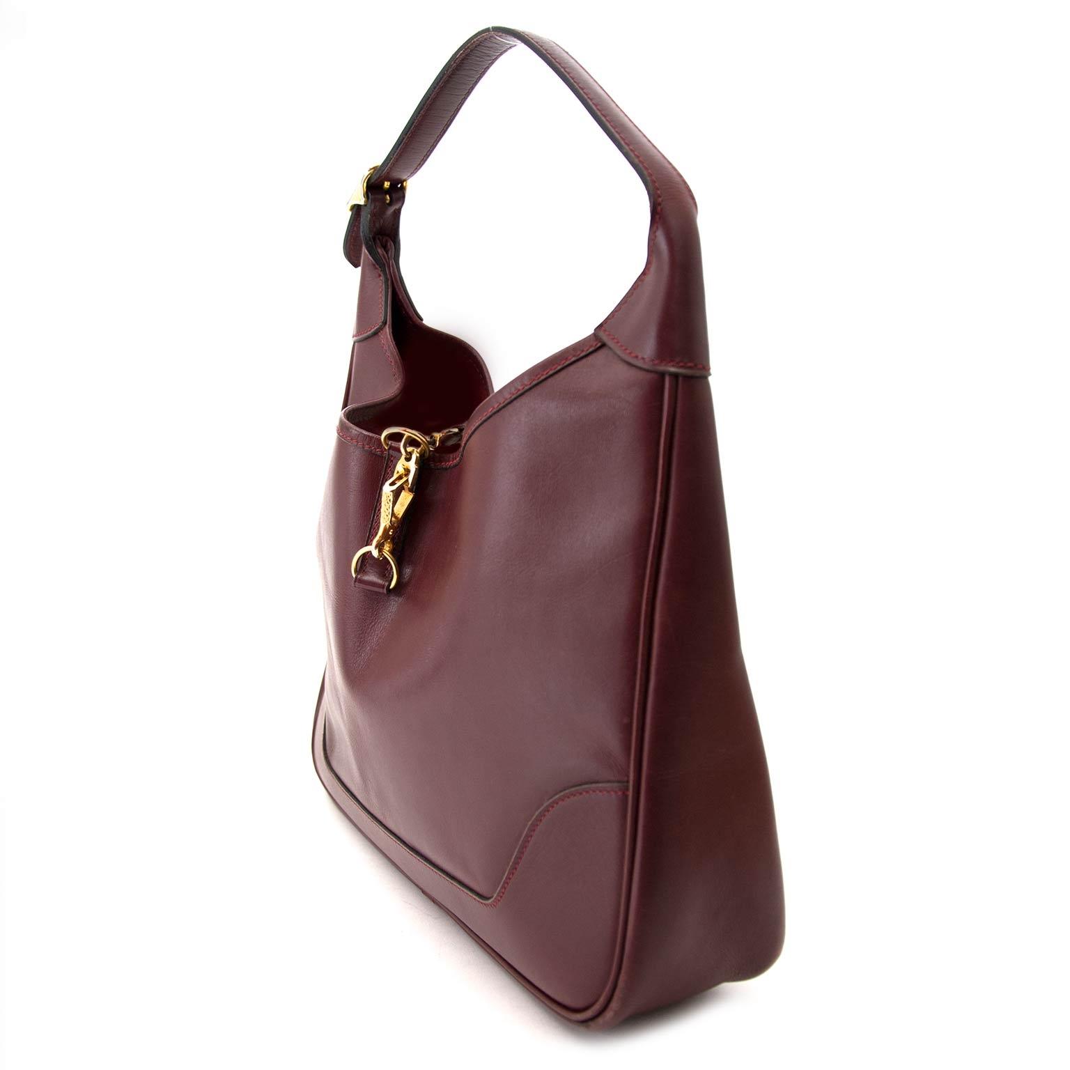 dce6aac7a7a ... shop safe and secure at labellov.com Hermès Trim Calf Leather Bordeaux  Hobo Bag