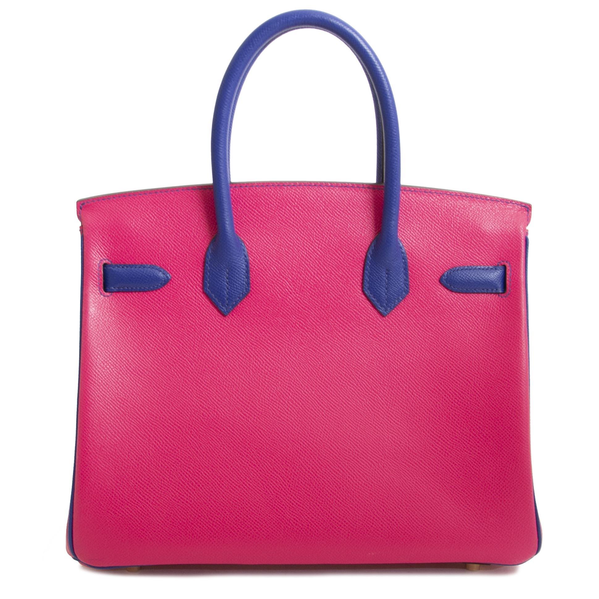 Hermès Birkin 30 Epsom HSS Horseshoe GHW Rose Tyrien / Bleu Electrique Epsom GHW