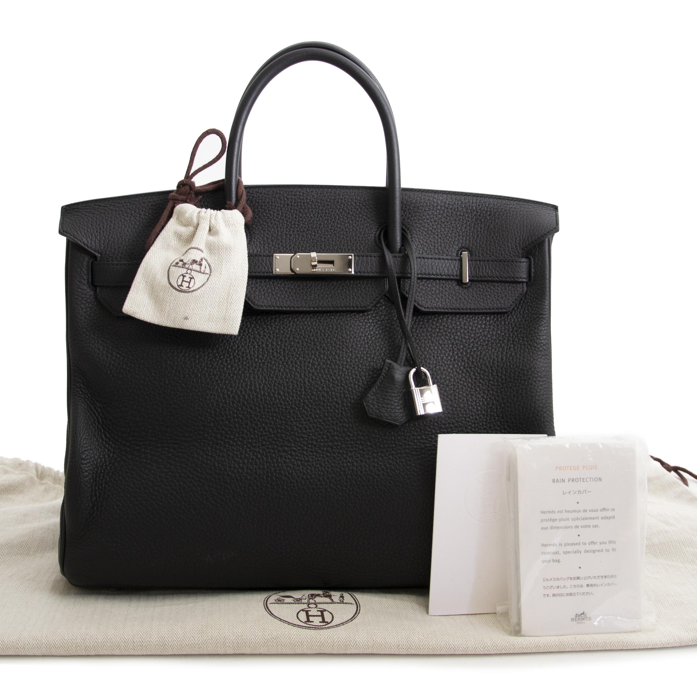 ... shop safe online secondhand Hermès Birkin 40cm Black Clemence Taurillon  PHW a9cc647b78a