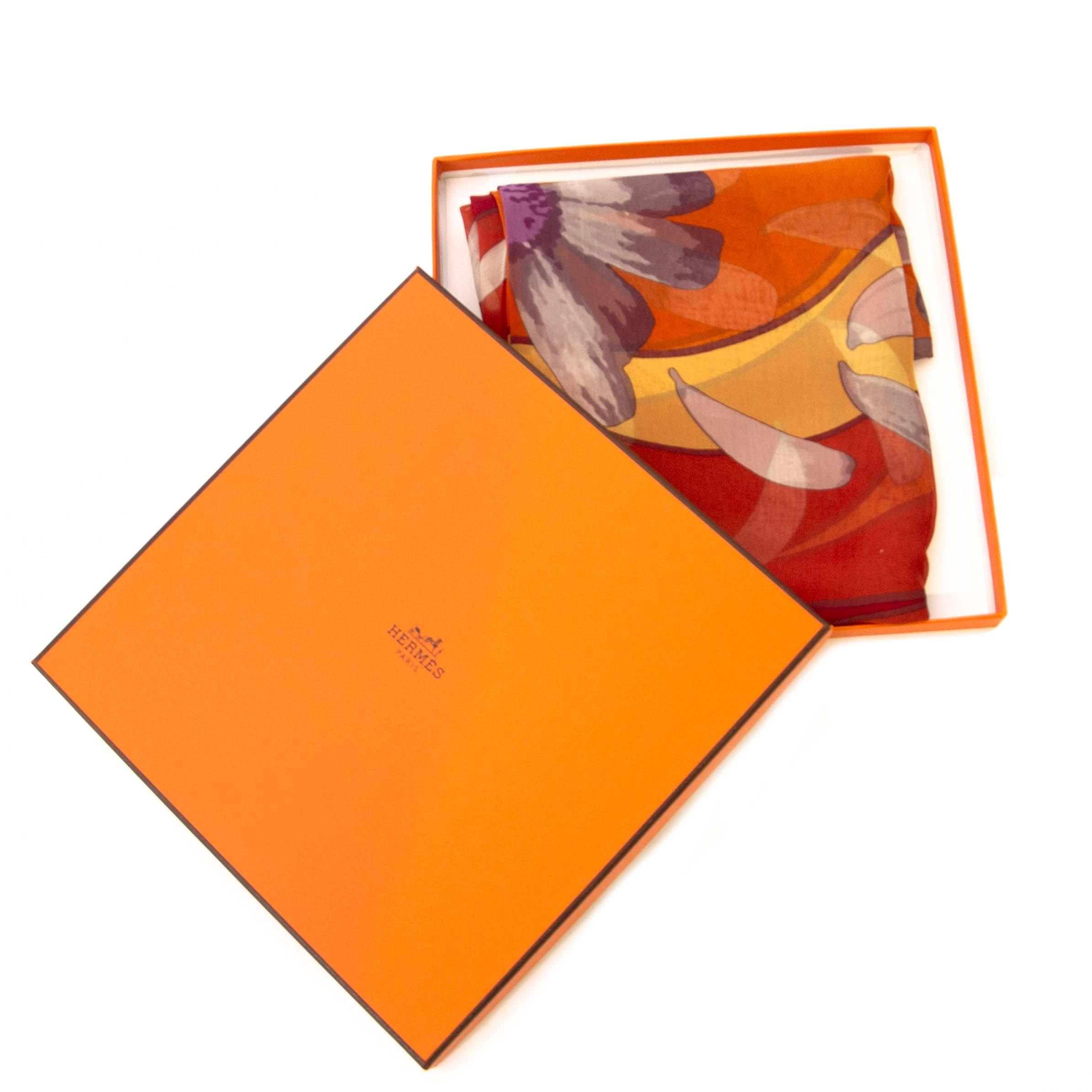 Hermes Crimson Au Gres Du Vent Mousseline silk scarf