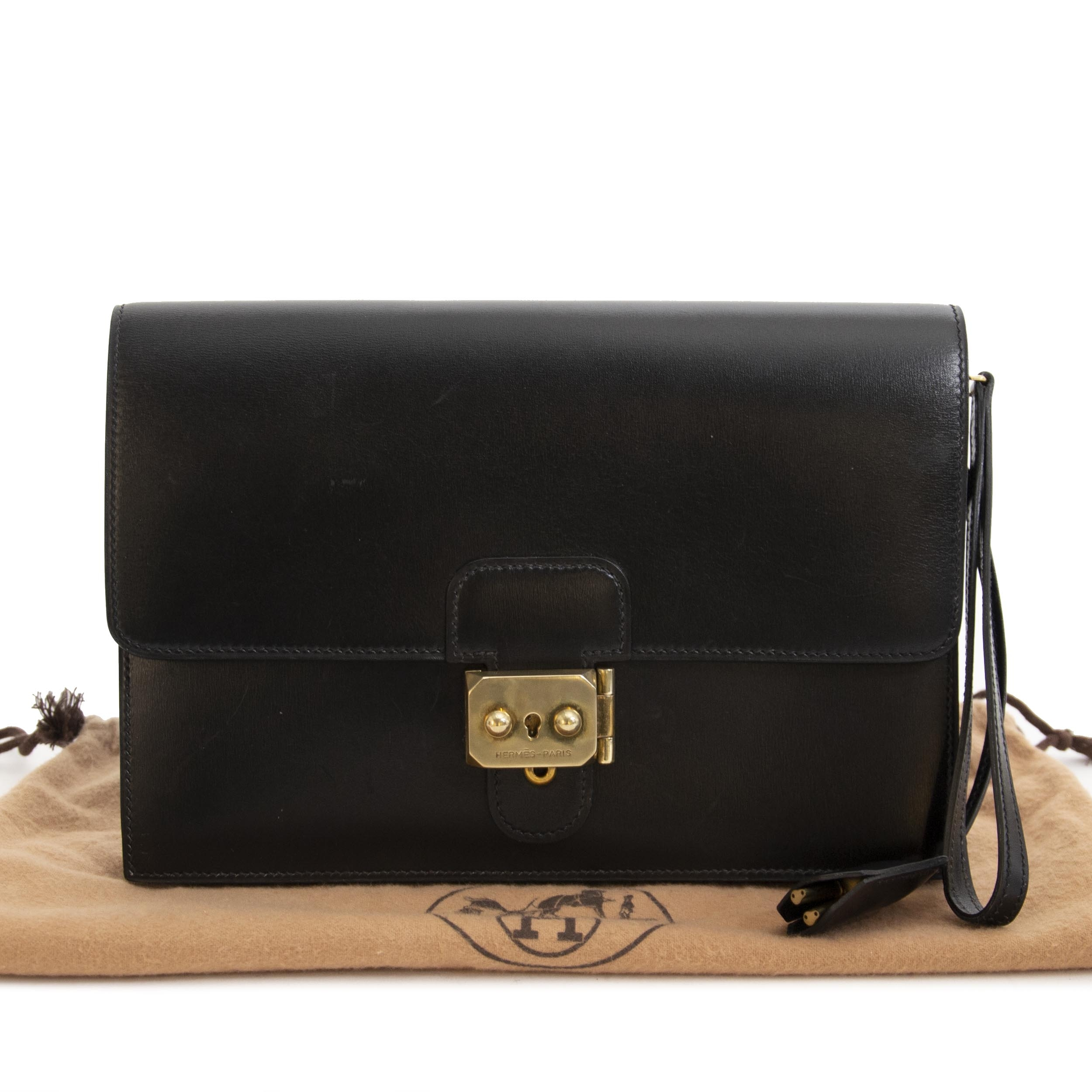 Hermes Black Box Calf Pochette Jet