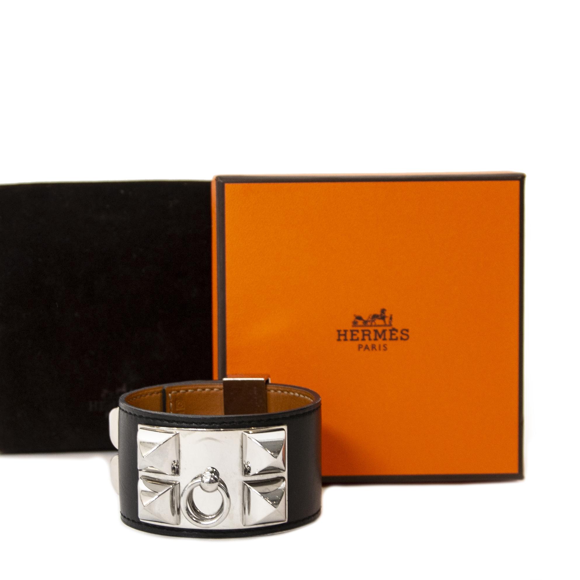 acheter en ligne chez labellov.com Hermès Collier de Chien Black PHW Small pour le meilleur prix