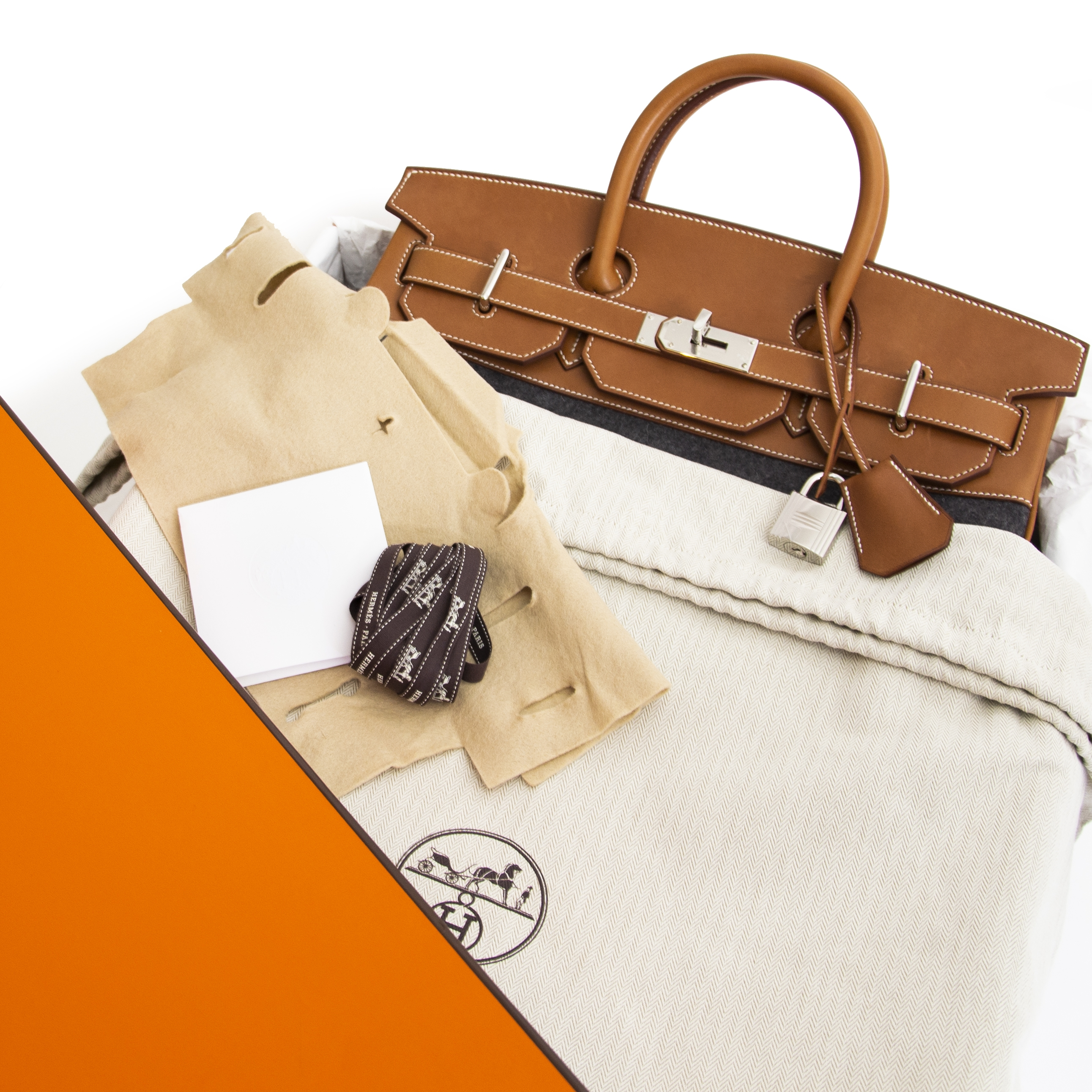 skip the list and get your Hermès Haut à Courroies HAC 40cm Feutre / Veau Barenia PHW right now!
