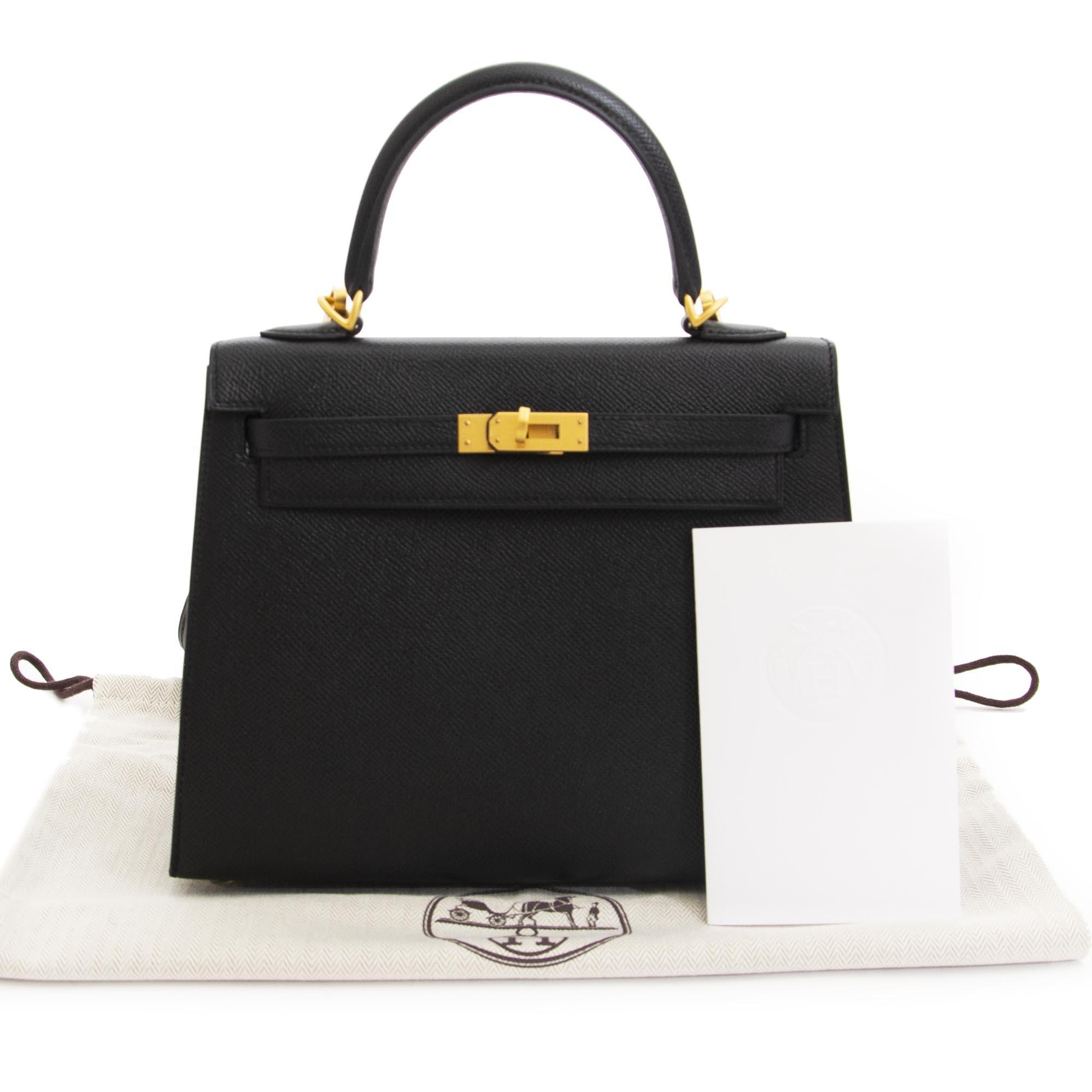 Hermès Kelly 25cm HSS Black Epsom Brushed GHW Rose Pourpre Horseshoe