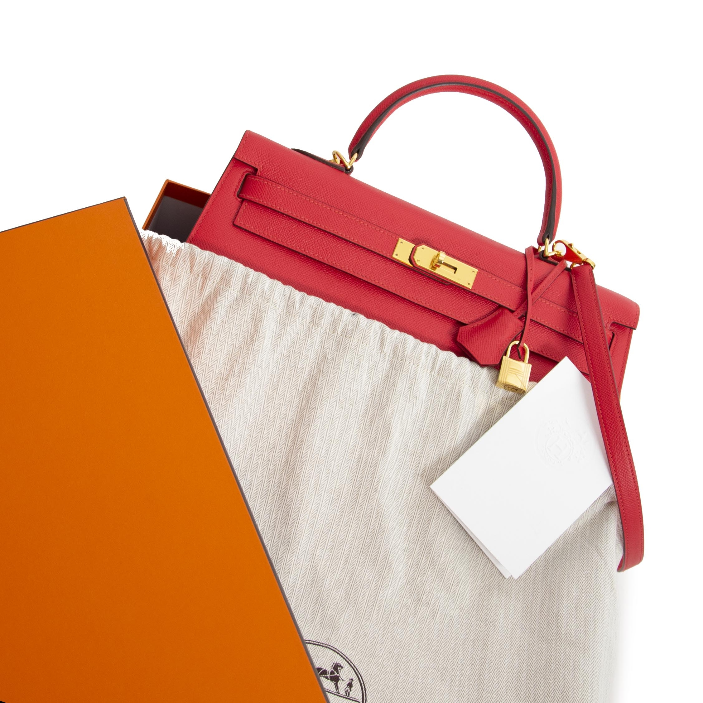 As New Hermès Kelly 35 Sellier Rouge Tomate PHW