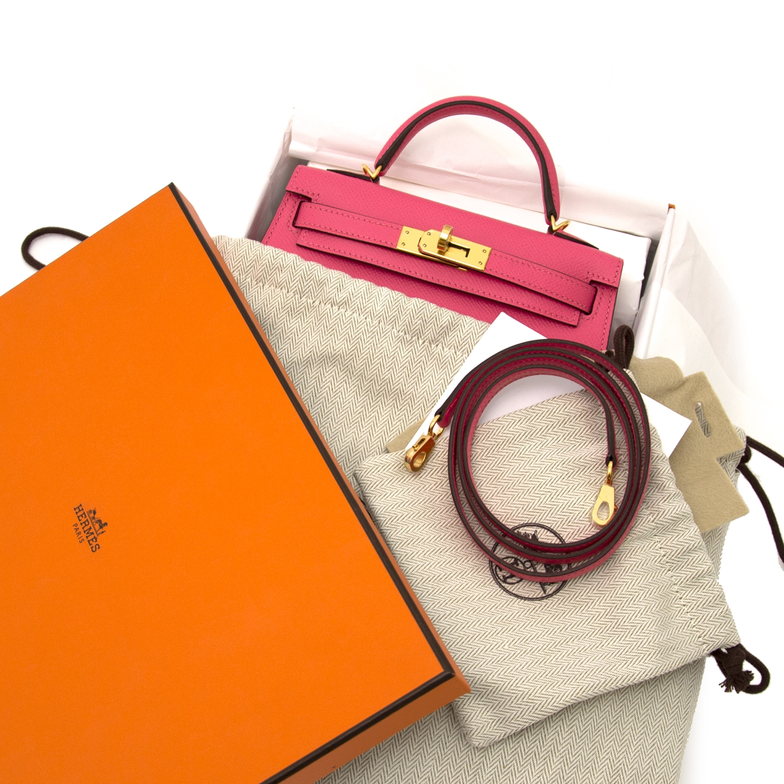 shop safe and secure online at labellov.com Hermès Kelly II Mini Veau Epsom Rose Azalee GHW