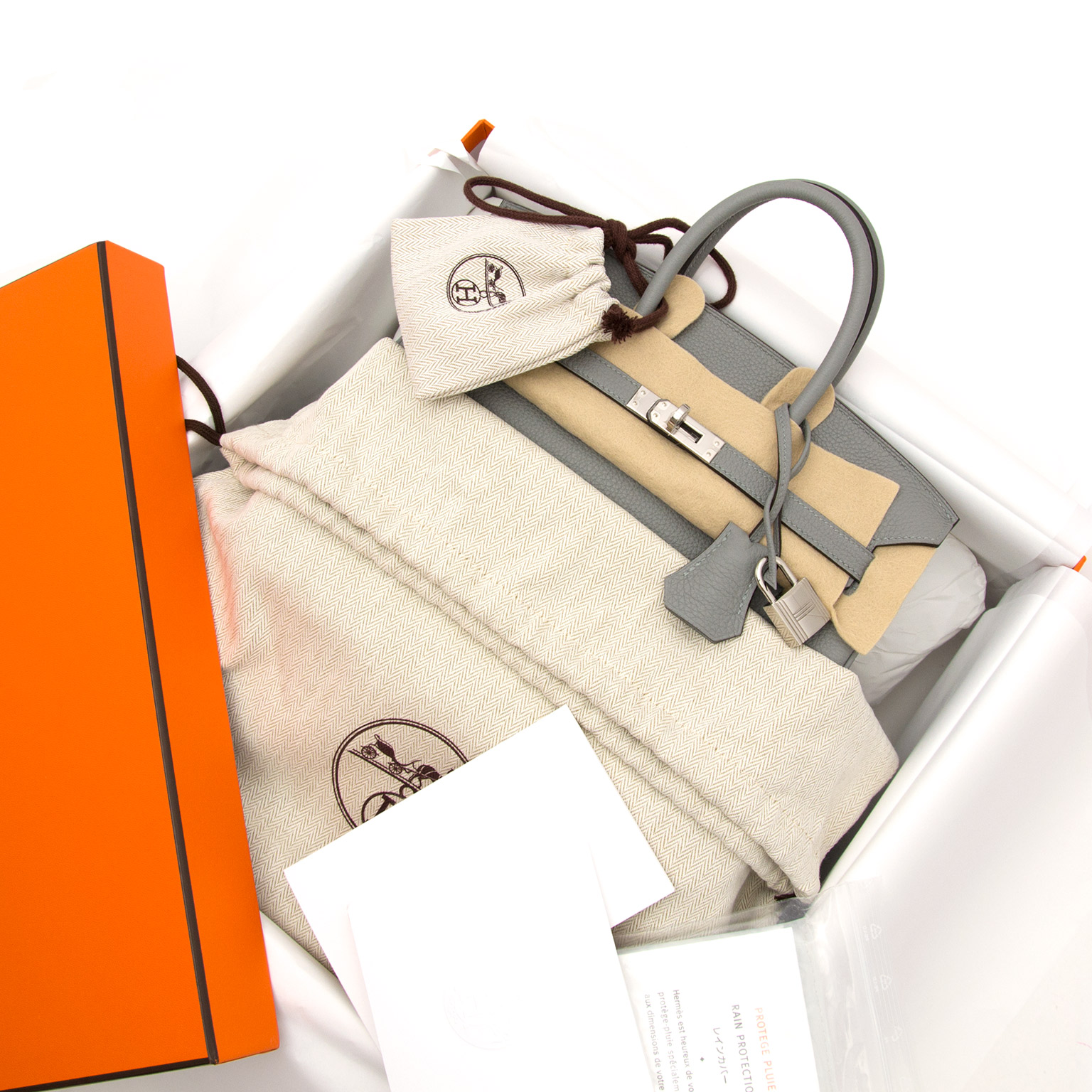 acheter en ligne comme neuf sac a mainBrand New Birkin 25 Gris Mouette Togo PHW