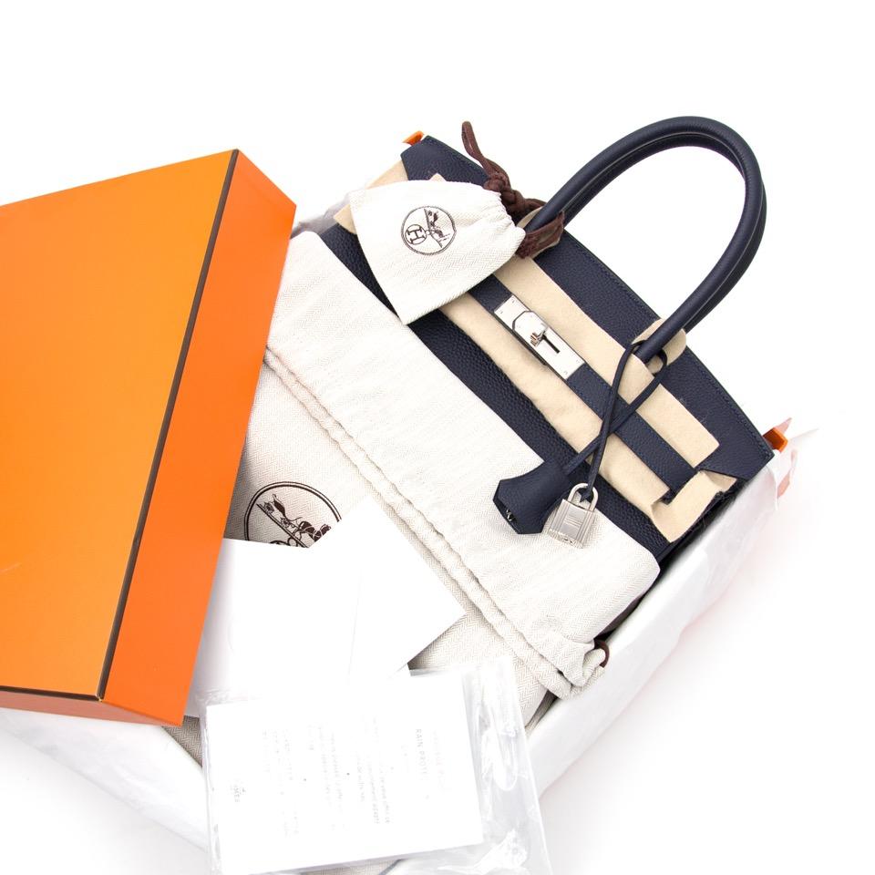 Buy now: timeless Hermès Birking 30 Bleu Nuit Togo in Belgium or online.