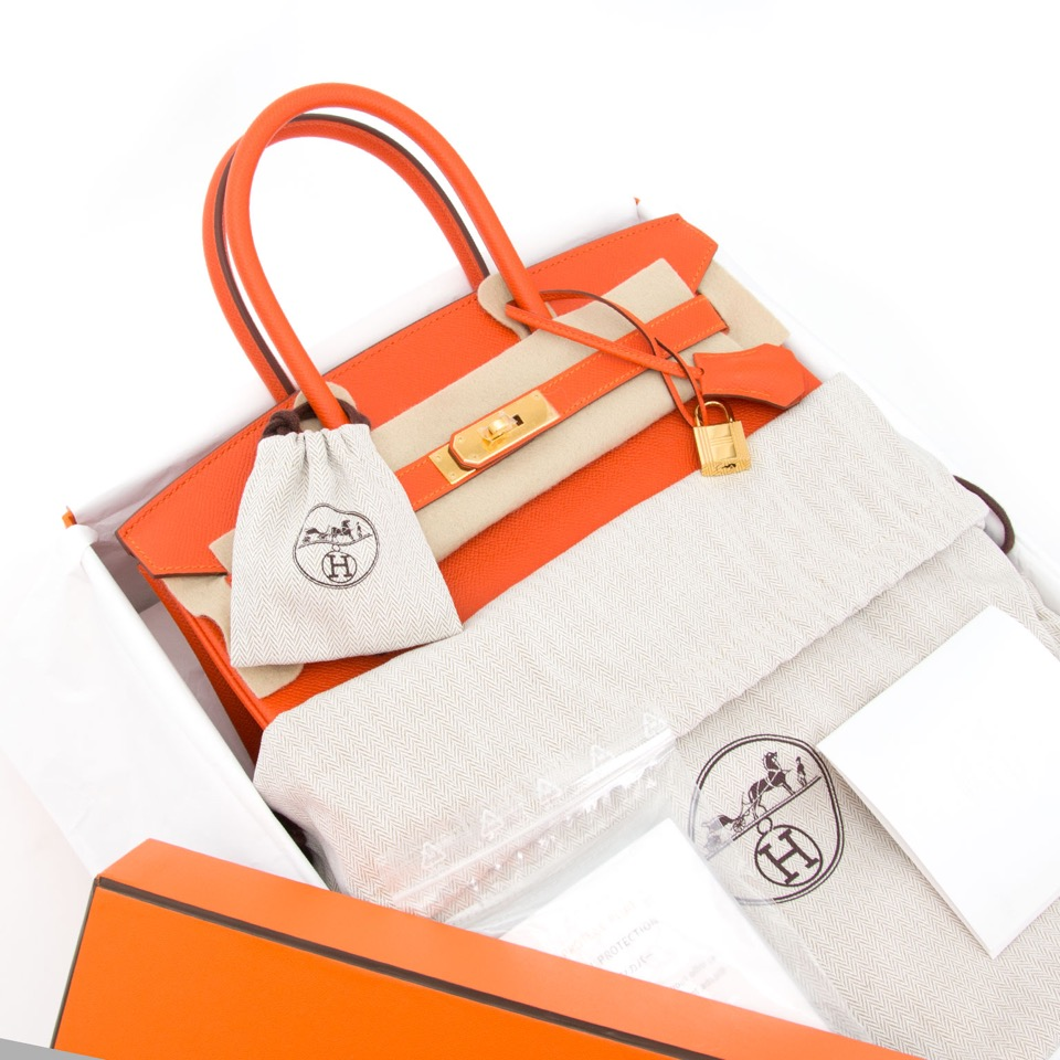 shop your designer luxury secondhand rare Brand New Hermes Birkin 30 Feu Epsom GHW