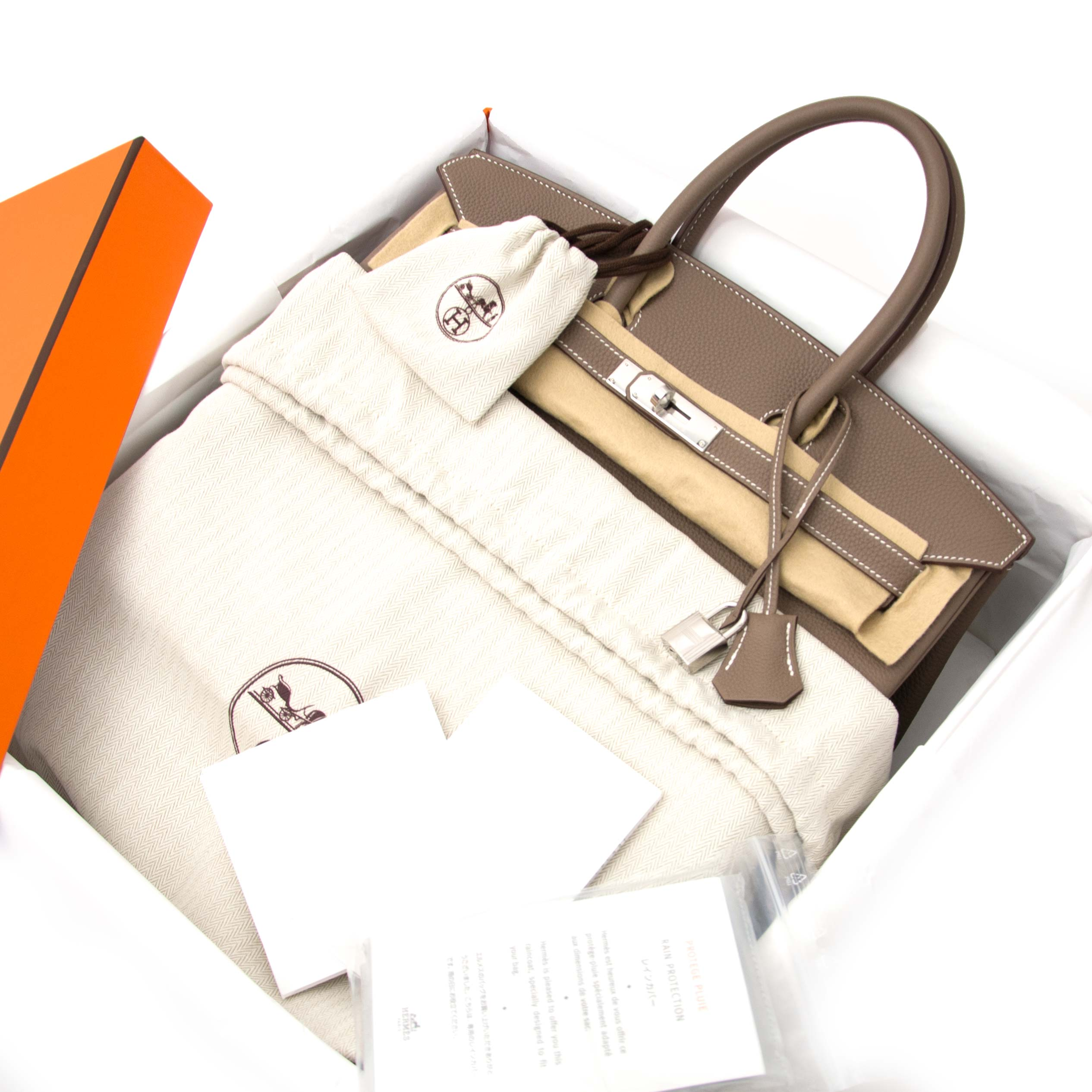 acheter en ligne pour le meilleur prix Never Used Hermes Birkin 35 Togo Etoupe PHW