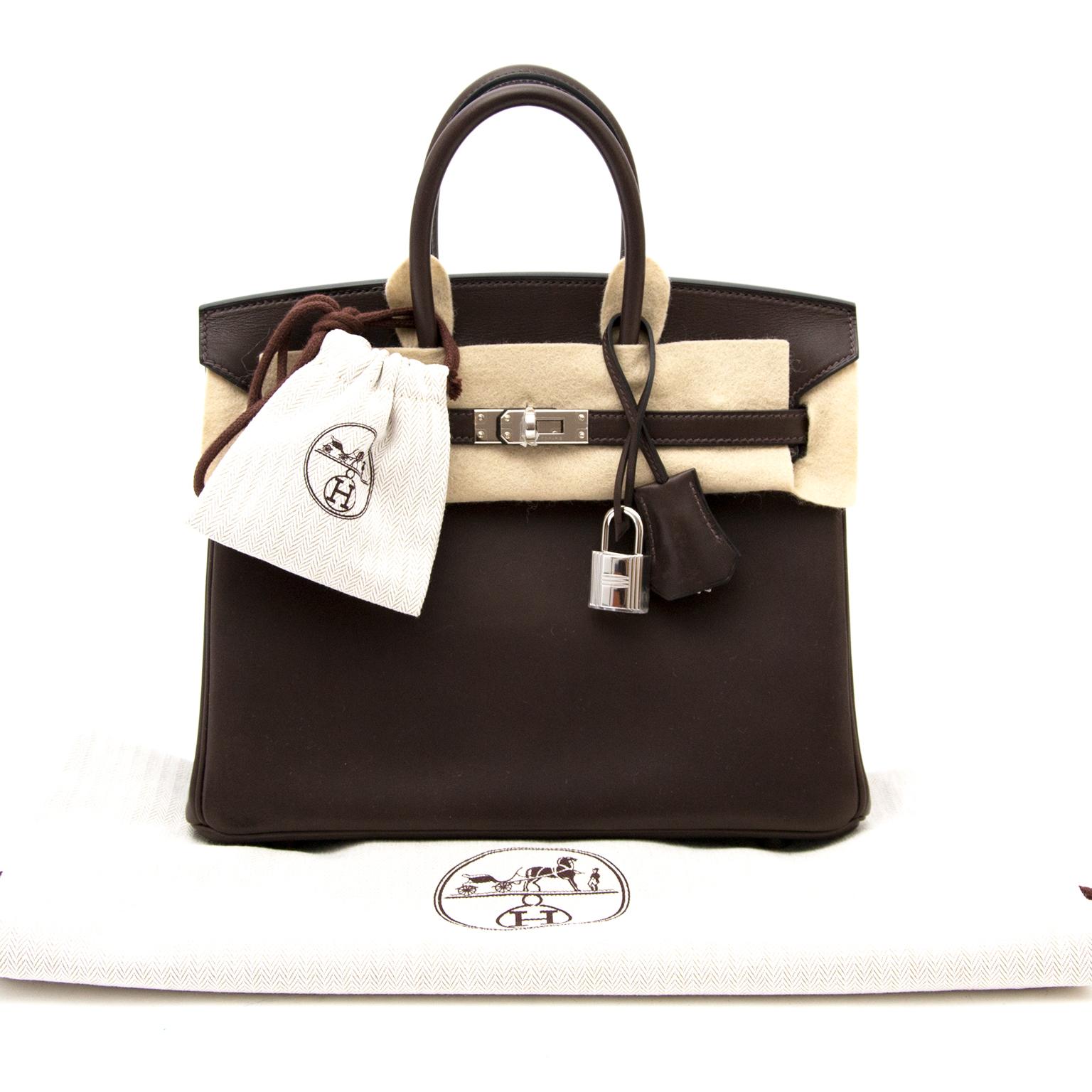 acheter en linge seconde main sac a main *NEW* Rare Brand New Hermès Birkin 25 Ebene Barenia