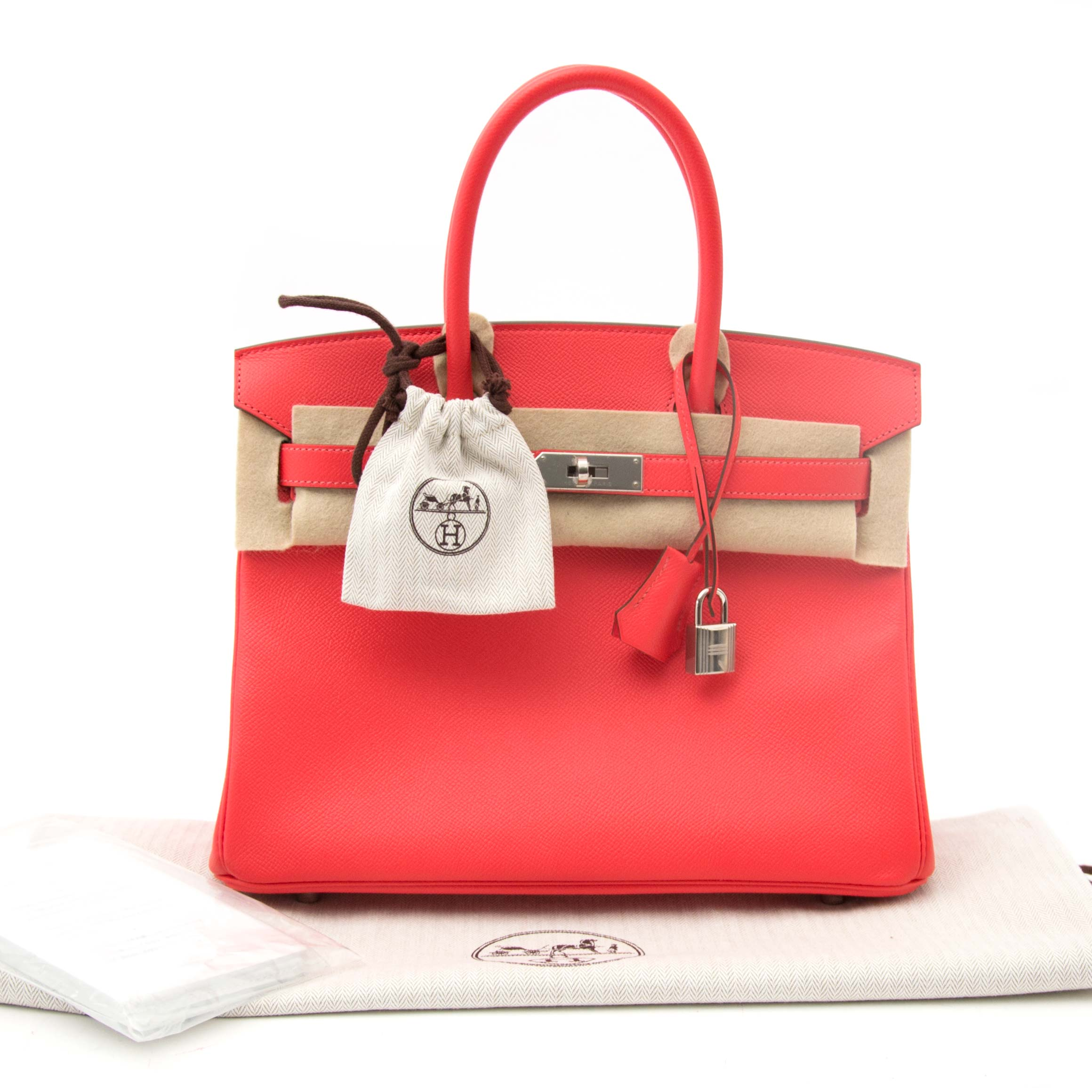 koop online aan d e beste prijs jou tweedehands Never Worn Hermes Birkin 30 Rose Jaipur Epsom PHW