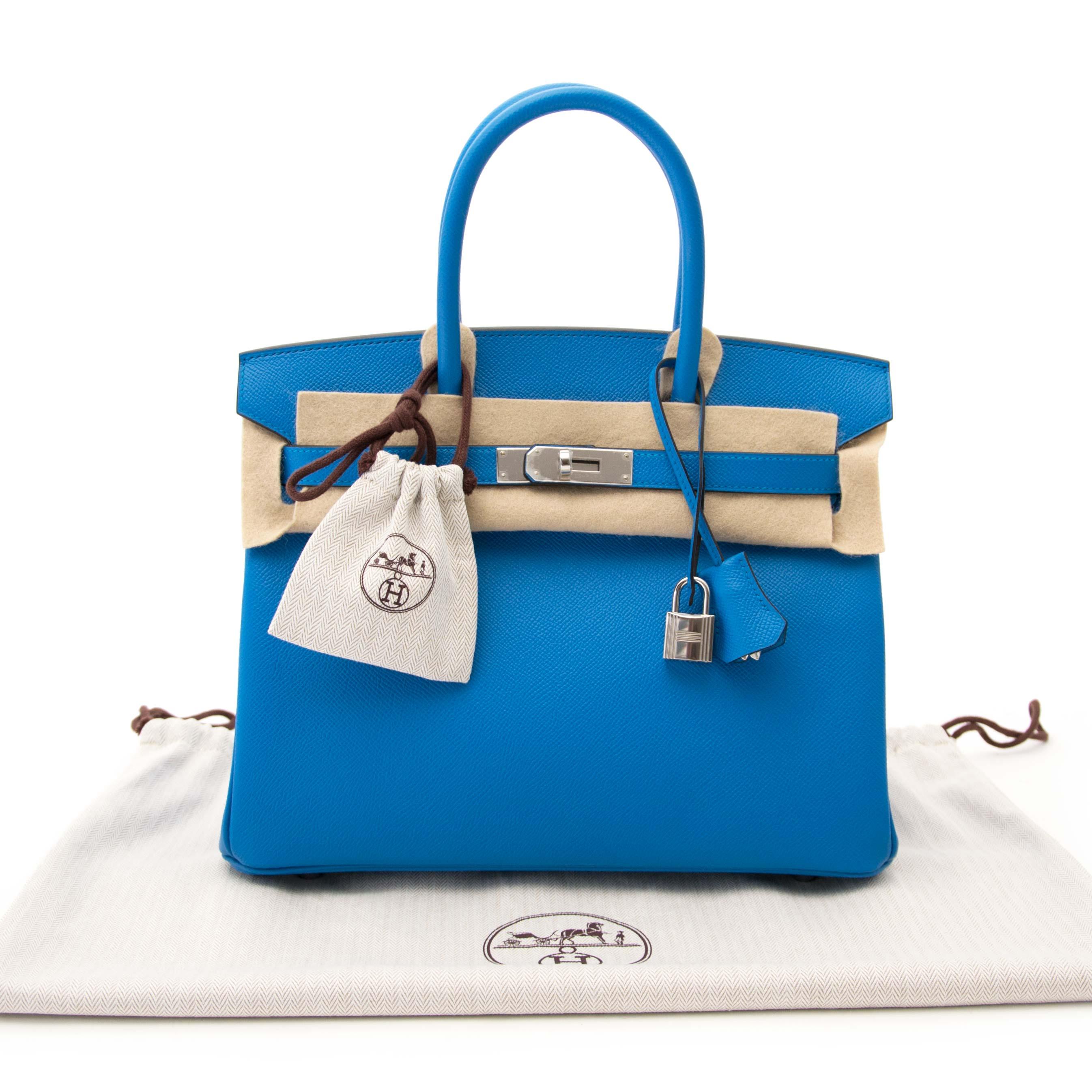 shop veilig online aan de beste prijs jou tweedehands Hermes Birkin 30 Bleu Zanzibar Epson
