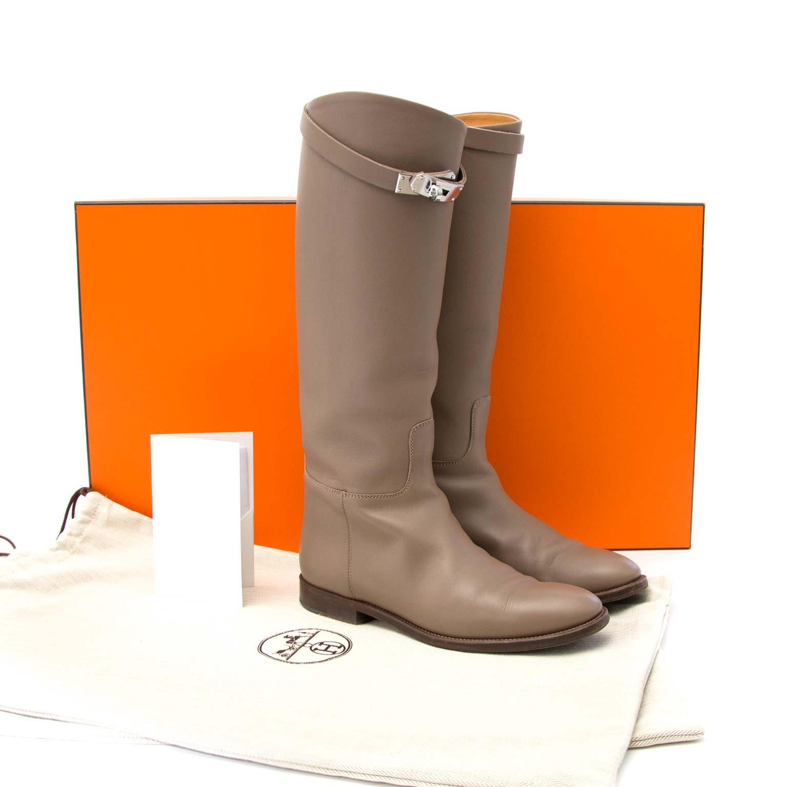 koop online aan de beste prijs Hermes Etoupe Bottes Jumping Veau Swift Forme Jopanais