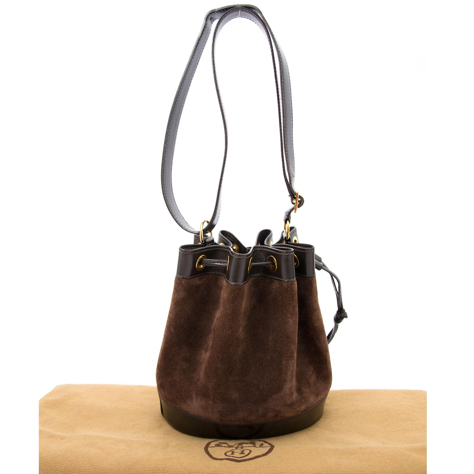 koop veilig online aan de beste prijs Hermes Brown Suede Bucket Bag
