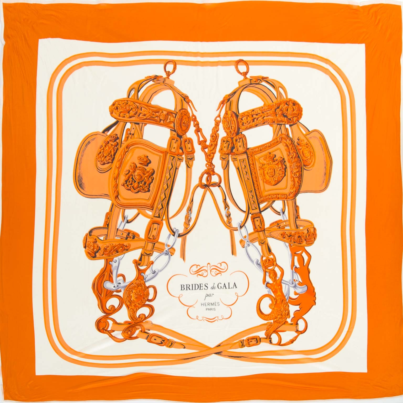 Hermès Silk Orange Bride De Gala Scarf te koop bij Labellov