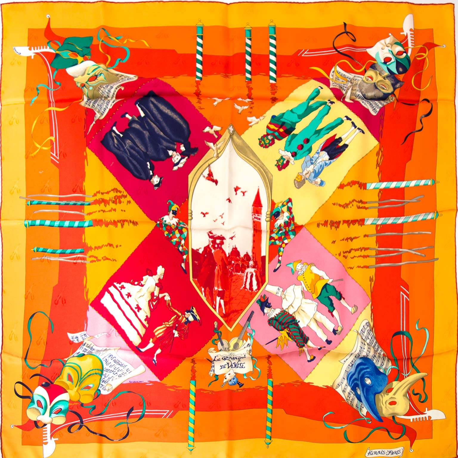Hermes 'Le Carnaval De Vénice' Silk Carré Scarf Buy authentic designer Hermes secondhand scarves at Labellov at the best price. Safe and secure shopping. Koop tweedehands authentieke Hermes sjaals bij designer webwinkel labellov.