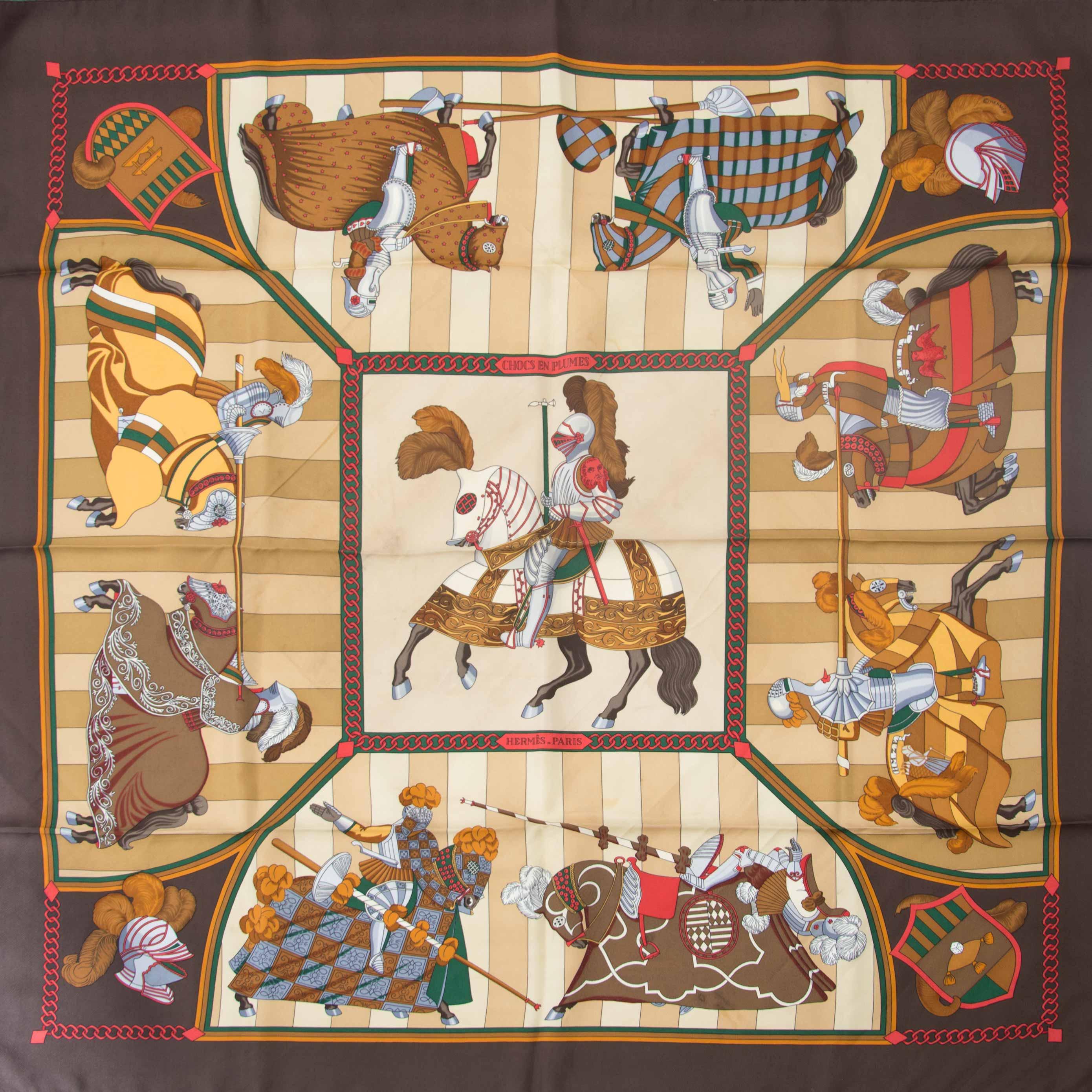 Hermes carré Chocs en Plumes by Christiane Vauzelles online webshop tweedehands luxe