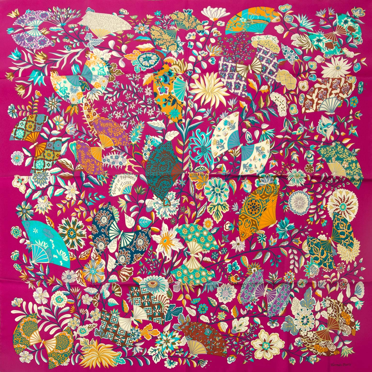 hermes carre fleurs et papillons de tissus scarf now for sale at labellov vintage fashion webshop belgium