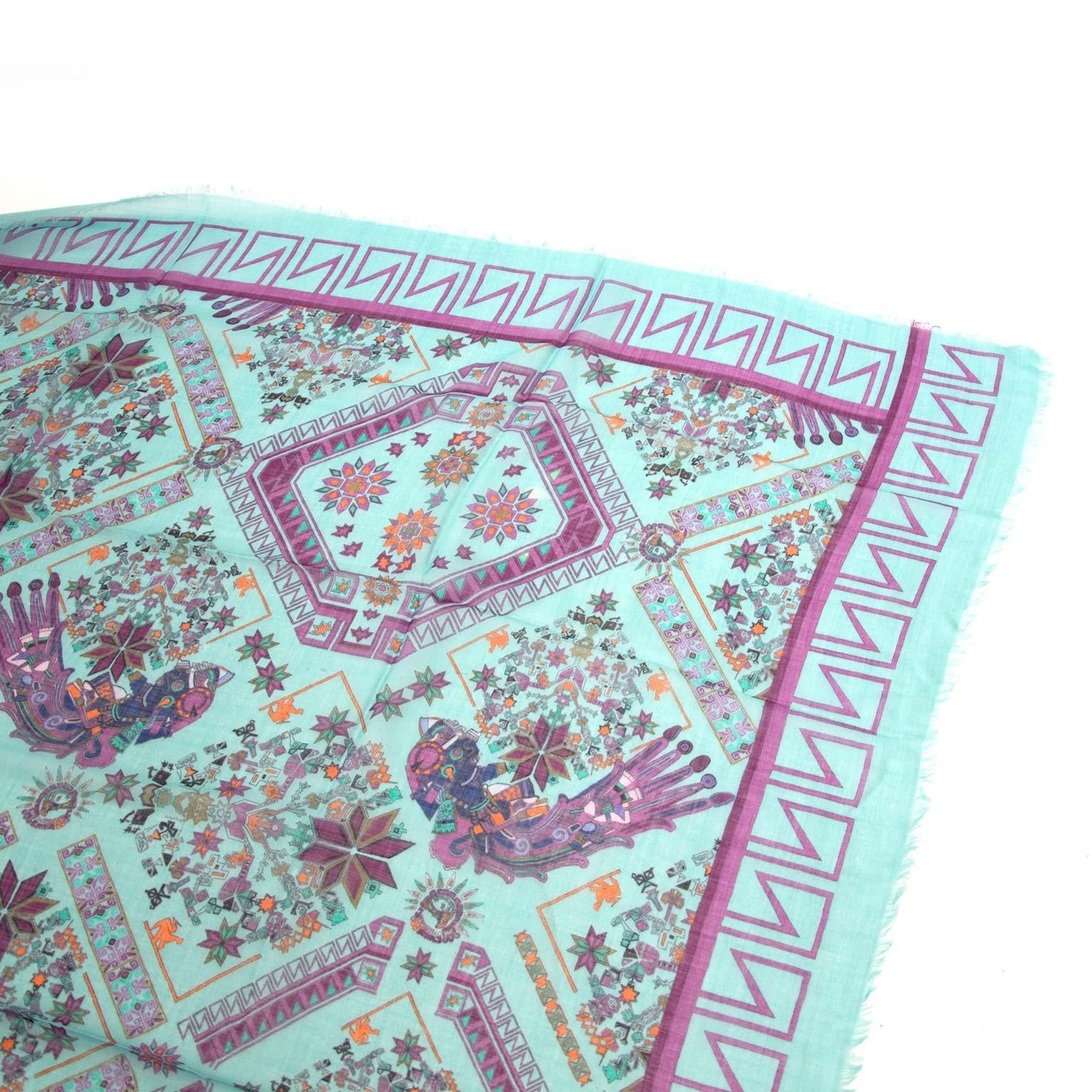 Koop versace blauwe zijden sjaal bij labellov vintage mode webshop belgië