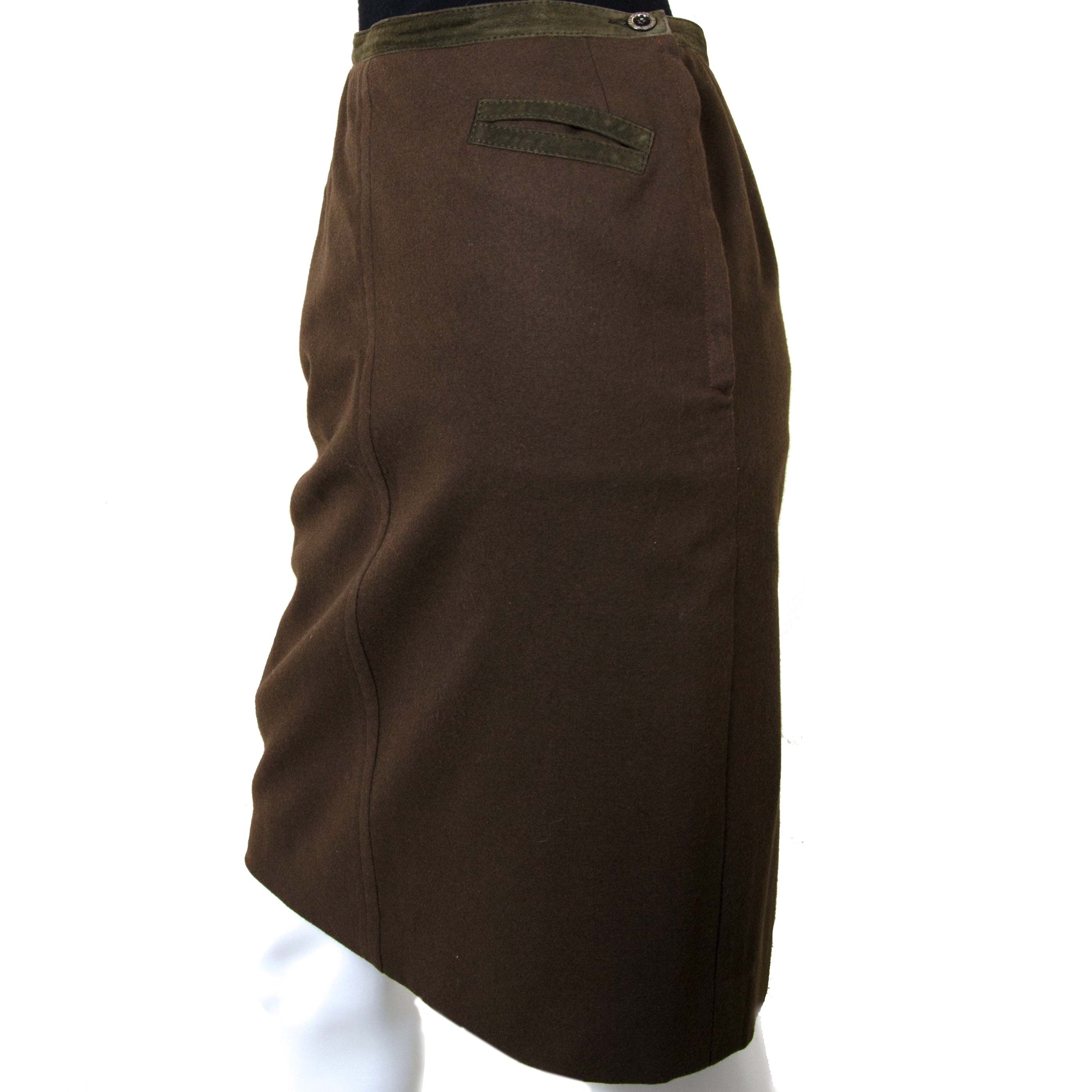 Hermès Paris Brown Wool Skirt now for sale at labellov vintage fashion webshop belgium