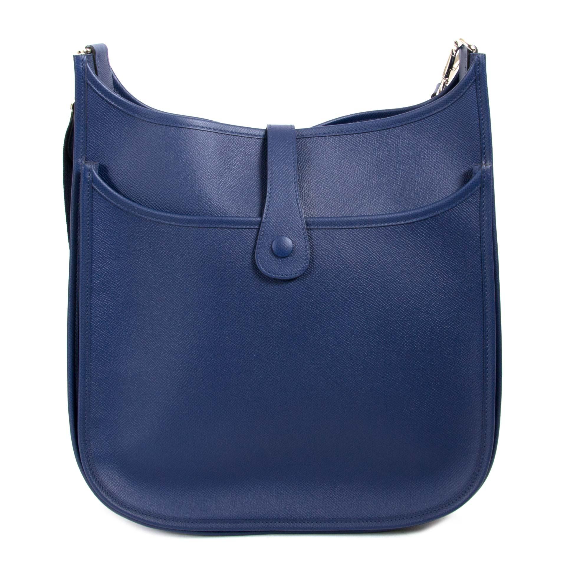 Hermès Evelyne III 33 GM Blue Epsom Bag now for sale at labellov vintage fashion webshop belgium
