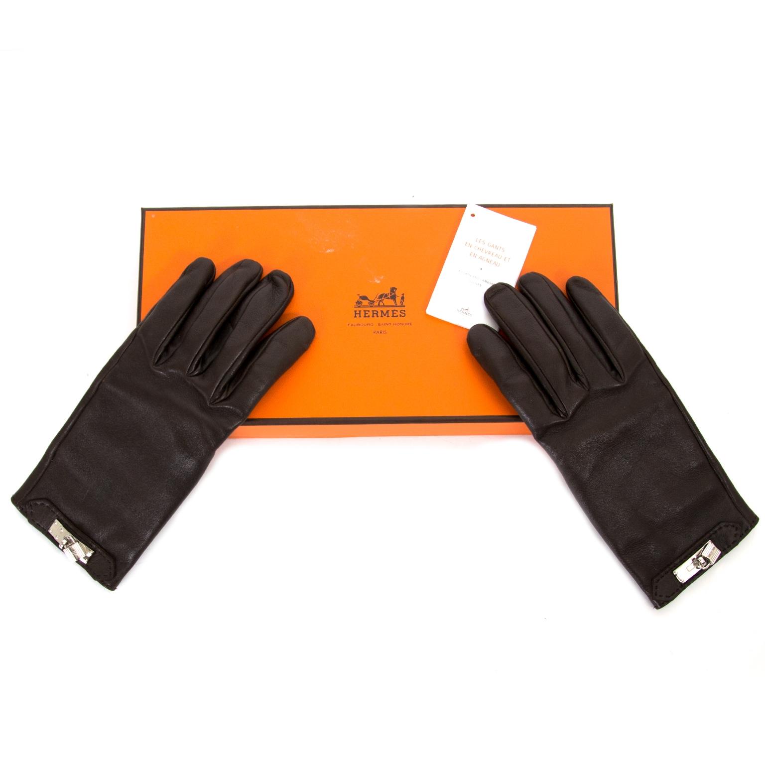 koop veilig online tegen de beste prijs Hermes Dark Brown Soya Gloves