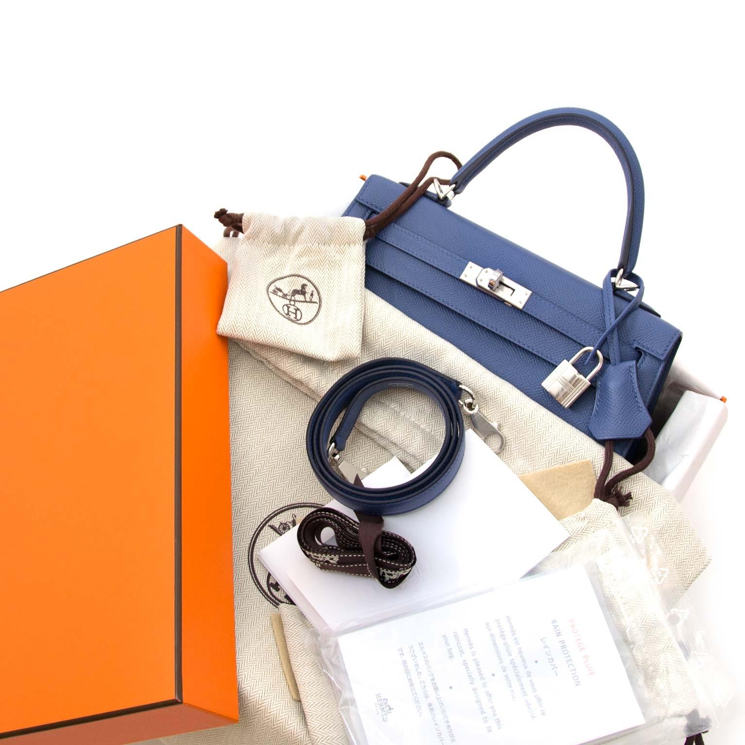 koop al uw hermes kelly en birkin tassen Hermès Kelly Sellier 25 Epsom Bleu Brighton PHW nu bij labellov.com zonder wachtlijst