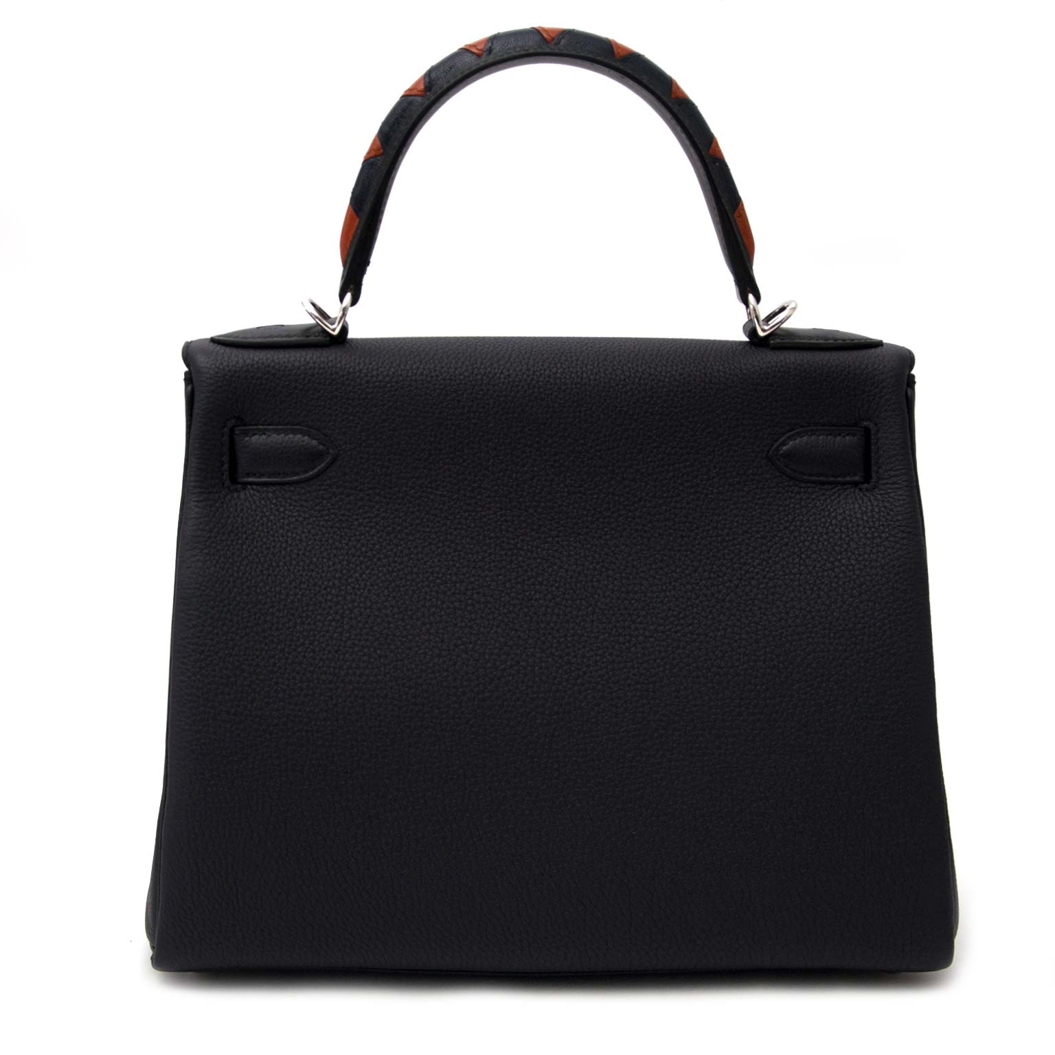 very hard to find  Hermes Kelly Au Galop 28 Retourne Blue indigo/ Black/Cuivre Togo / Box calf /Chevre myzore goatskin Leather