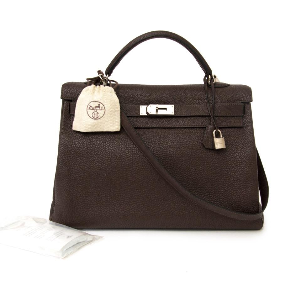 838368ede6b ... designer acheter en ligne seconde main sac a main Hermes Kelly 40 Cafe  Clemence Taurilllon PHW
