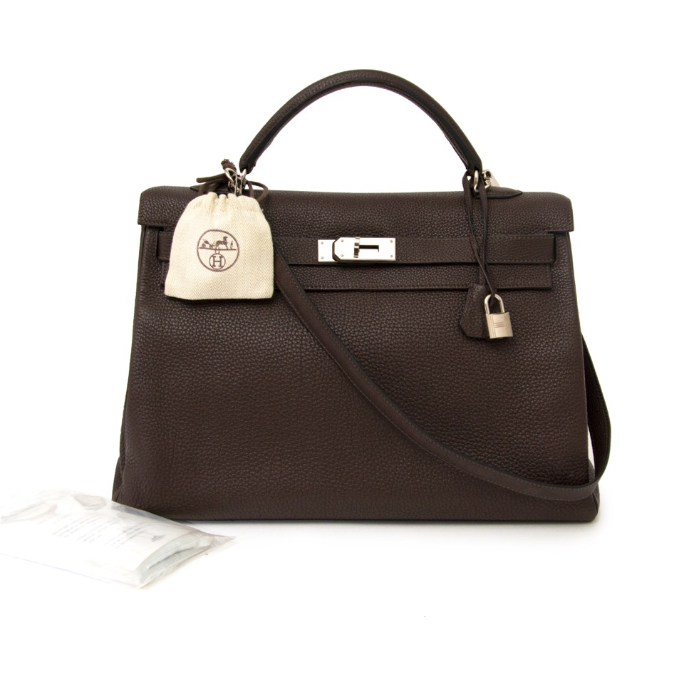 acheter en ligne seconde main sac a main Hermes Kelly 40 Cafe Clemence Taurilllon PHW