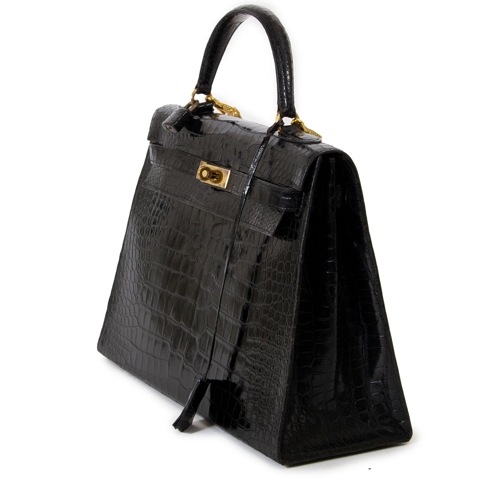 Hermes Kelly 35 Black Crocodile GHW