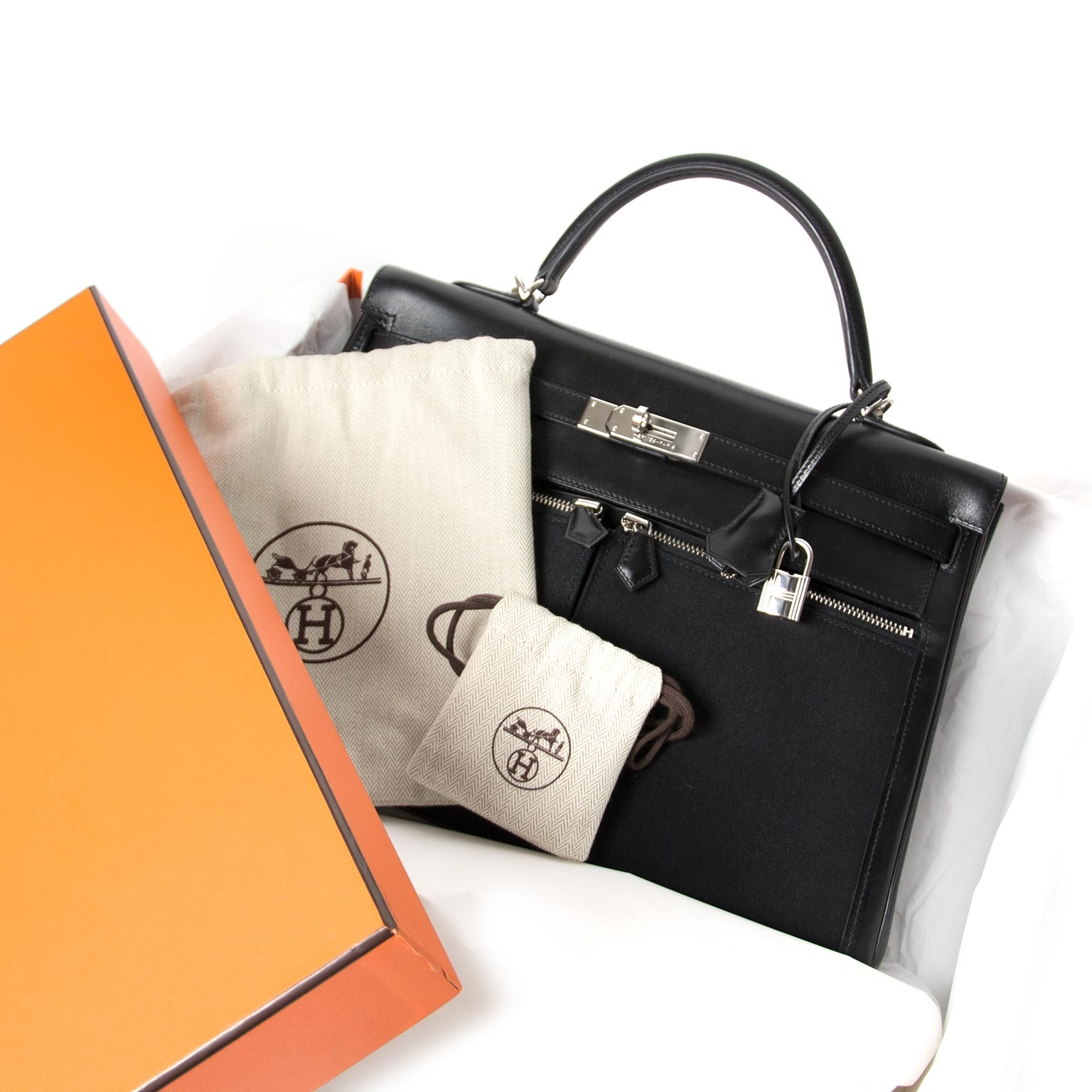 c083dcd7d1c ... Hermès Kelly 35cm Lakis Black Boxcalf Leather with Toile PHW · Hermes