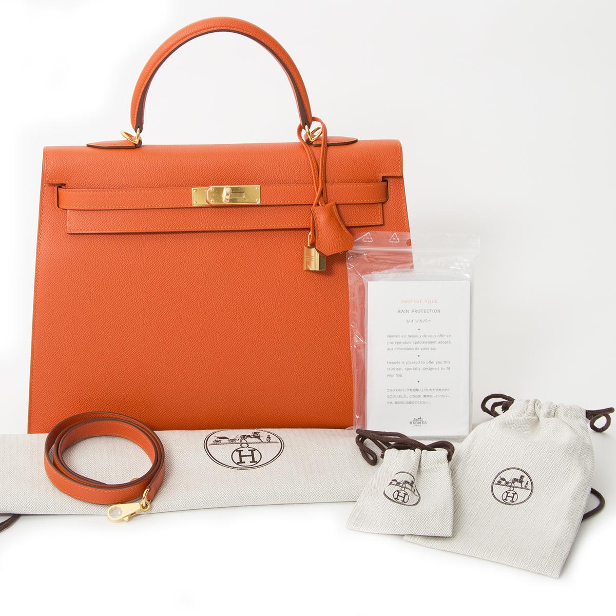 acheter en ligne seconde main sac a main Hermès Kelly 35 Feu Epsom GHW comme neuf pour le meilleur prix sac a main Hermès Kelly 35 Feu Epsom GHW